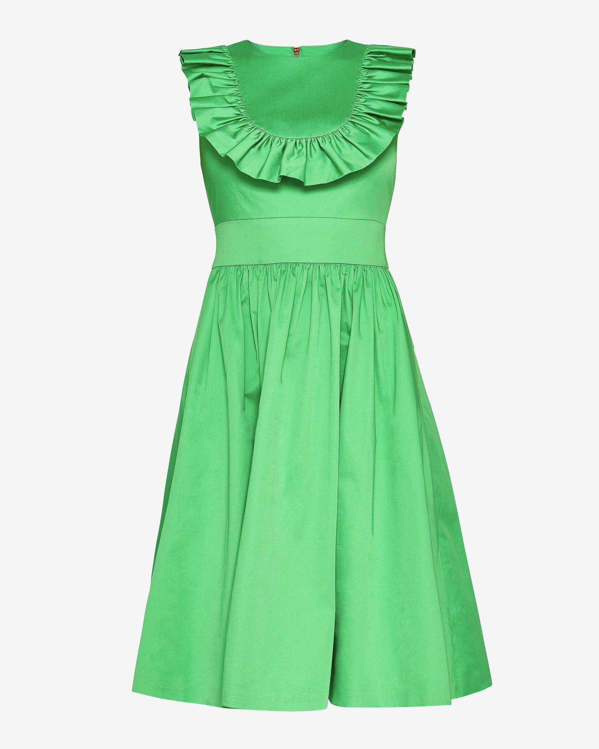 Ted Baker Awrah A-Line Ruffle Bib Midi Dress, Bright Green