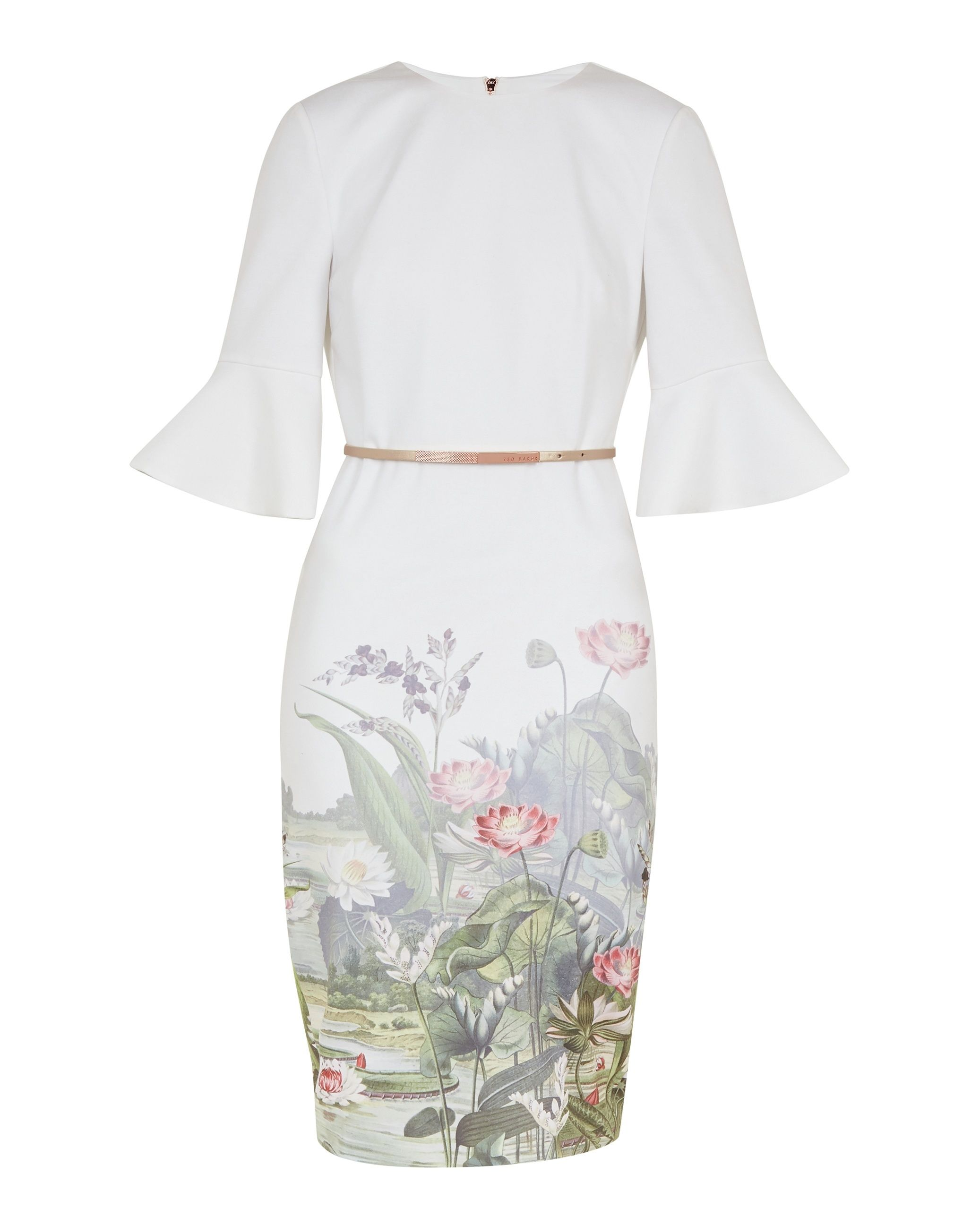 Ted Baker Azania Wonderland Bodycon Dress in Ivory