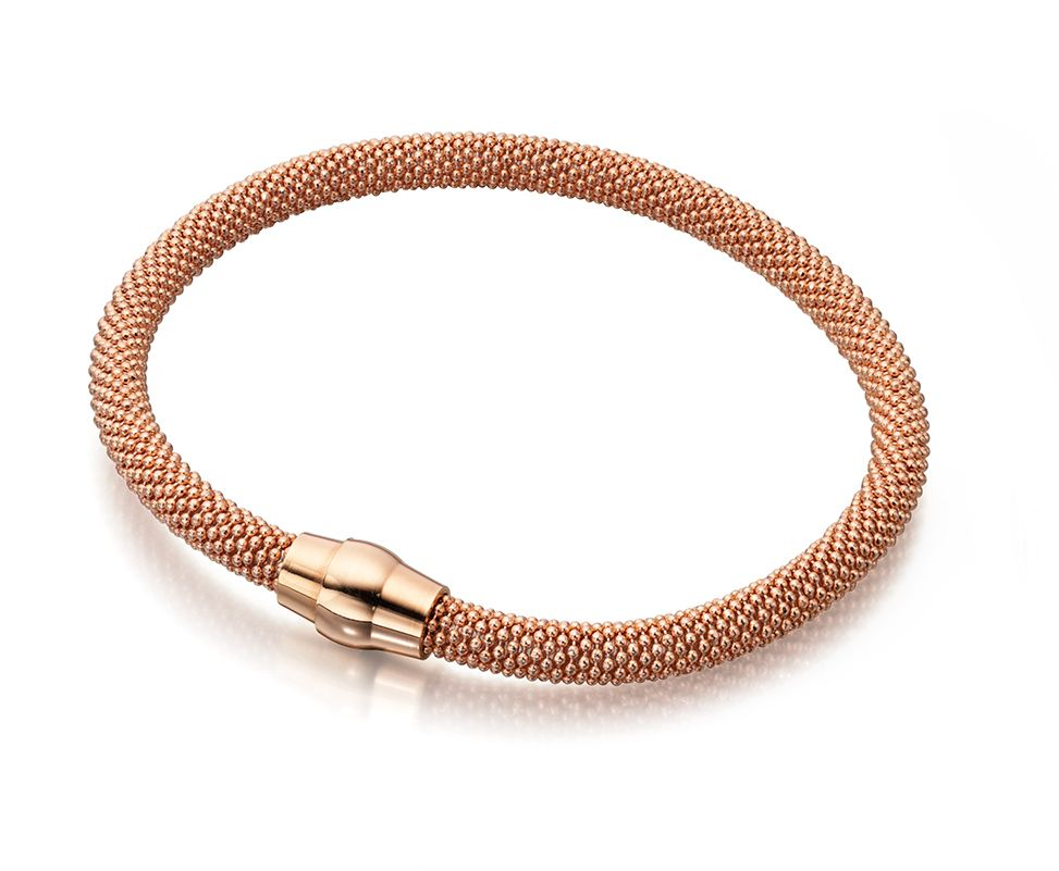 Elements Silver Womens 925 Sterling Silver Rose Gold Plated Popcorn Mesh Magnetic Clasp Bracelet of Length 19cm