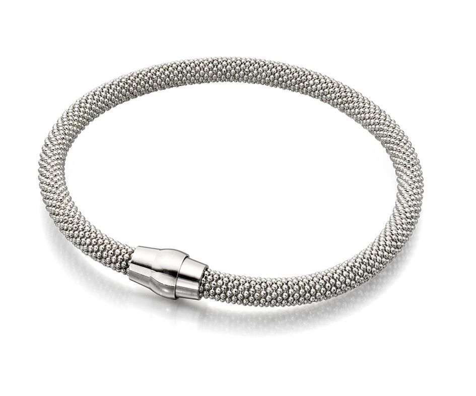 Elements Silver 925 Sterling Silver Ladies Rhodium Plated Popcorn Bead Chain Magnetic Clasp Bracelet of Length 19cm