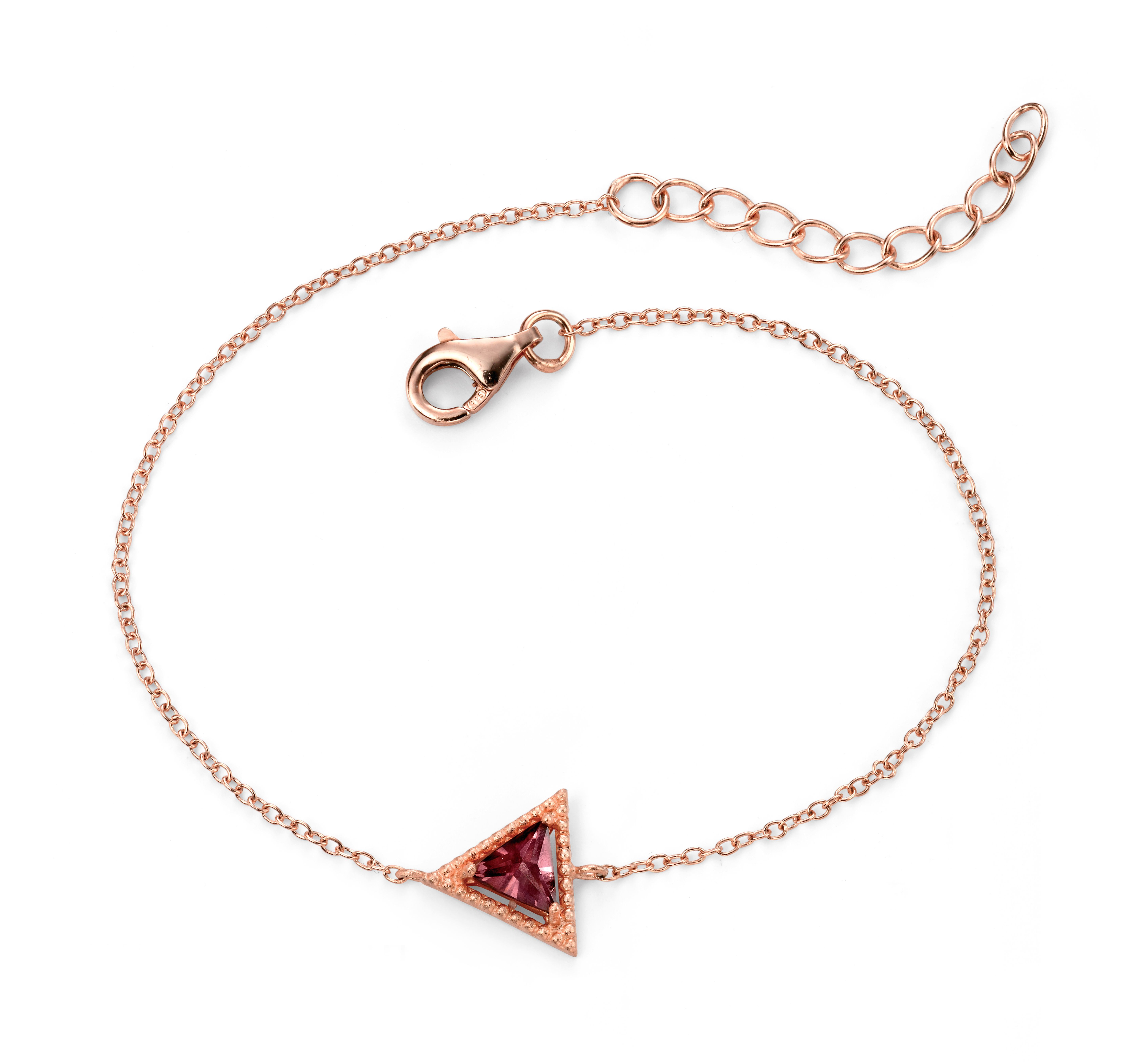 Elements Silver Womens 925 Sterling Silver Rose Gold Plated Purple Cubic Zirconia Triangle Bracelet of Length 17-20cm