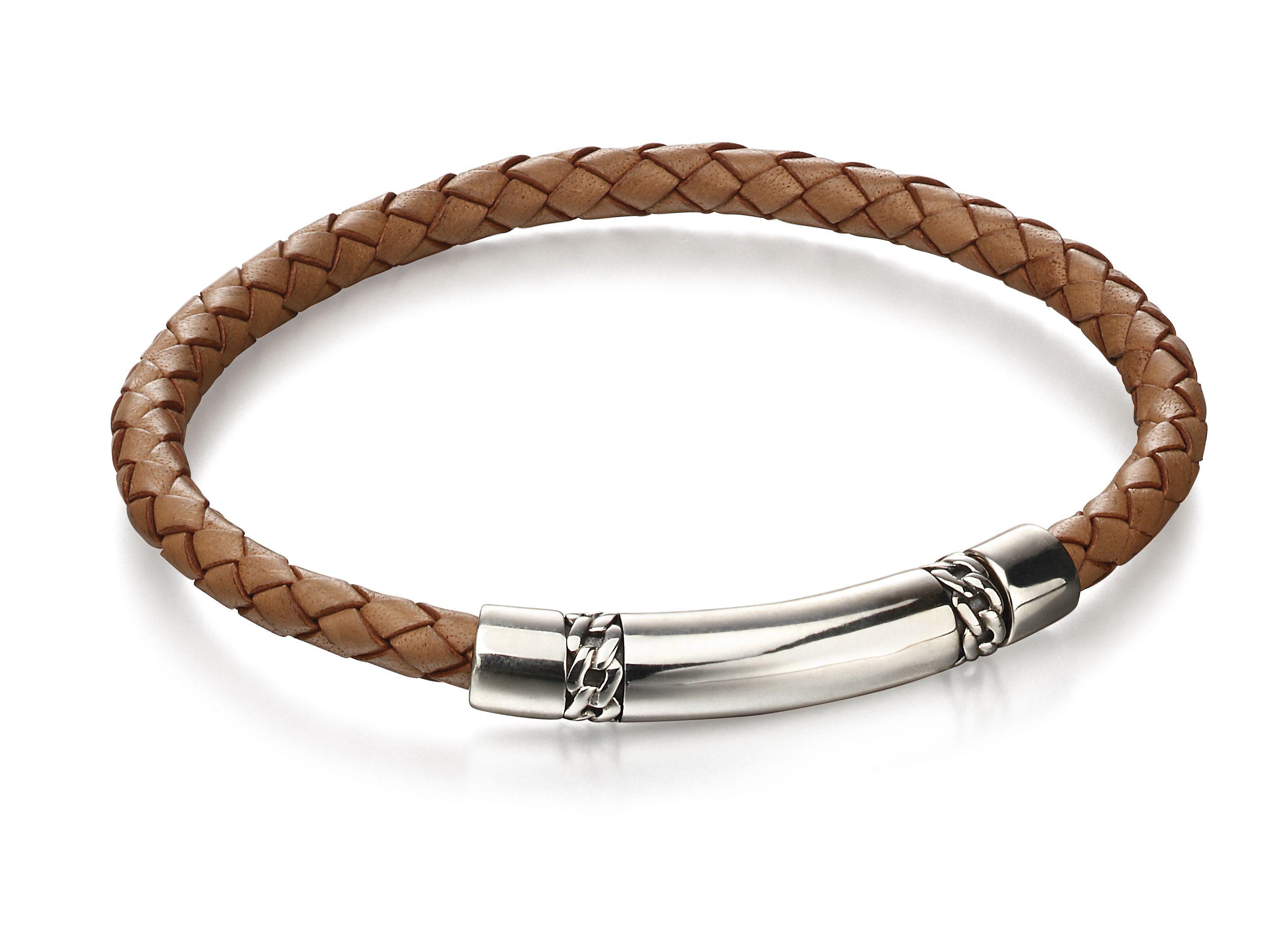 Fred Bennett Mens 925 Sterling Silver Tan Brown Woven Leather & Chain Detail Bracelet of Length 22cm