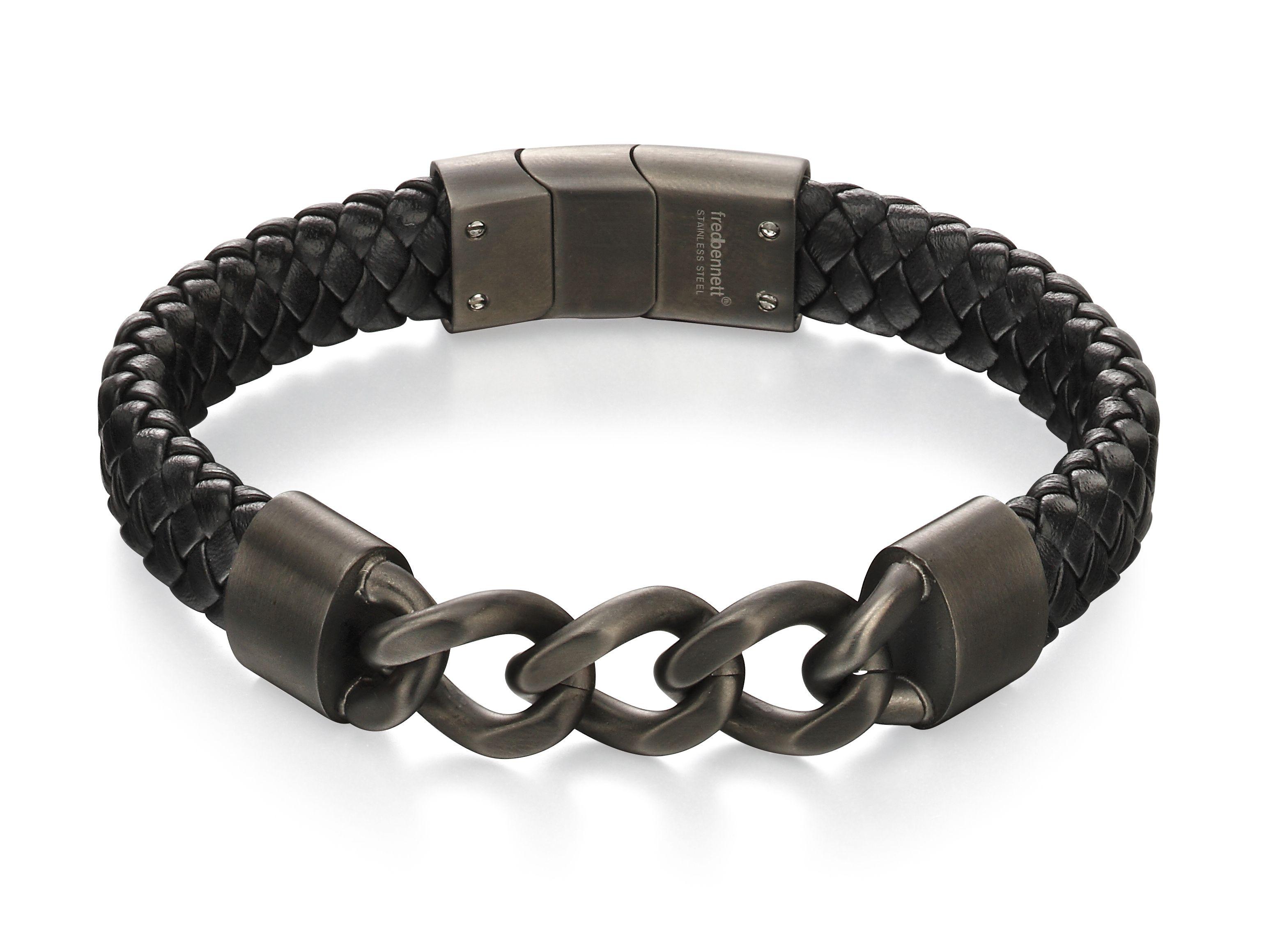 Fred Bennett Mens Skinny Stainless Steel & Brown Leather Magnetic Clasp Bracelet of Length 19cm