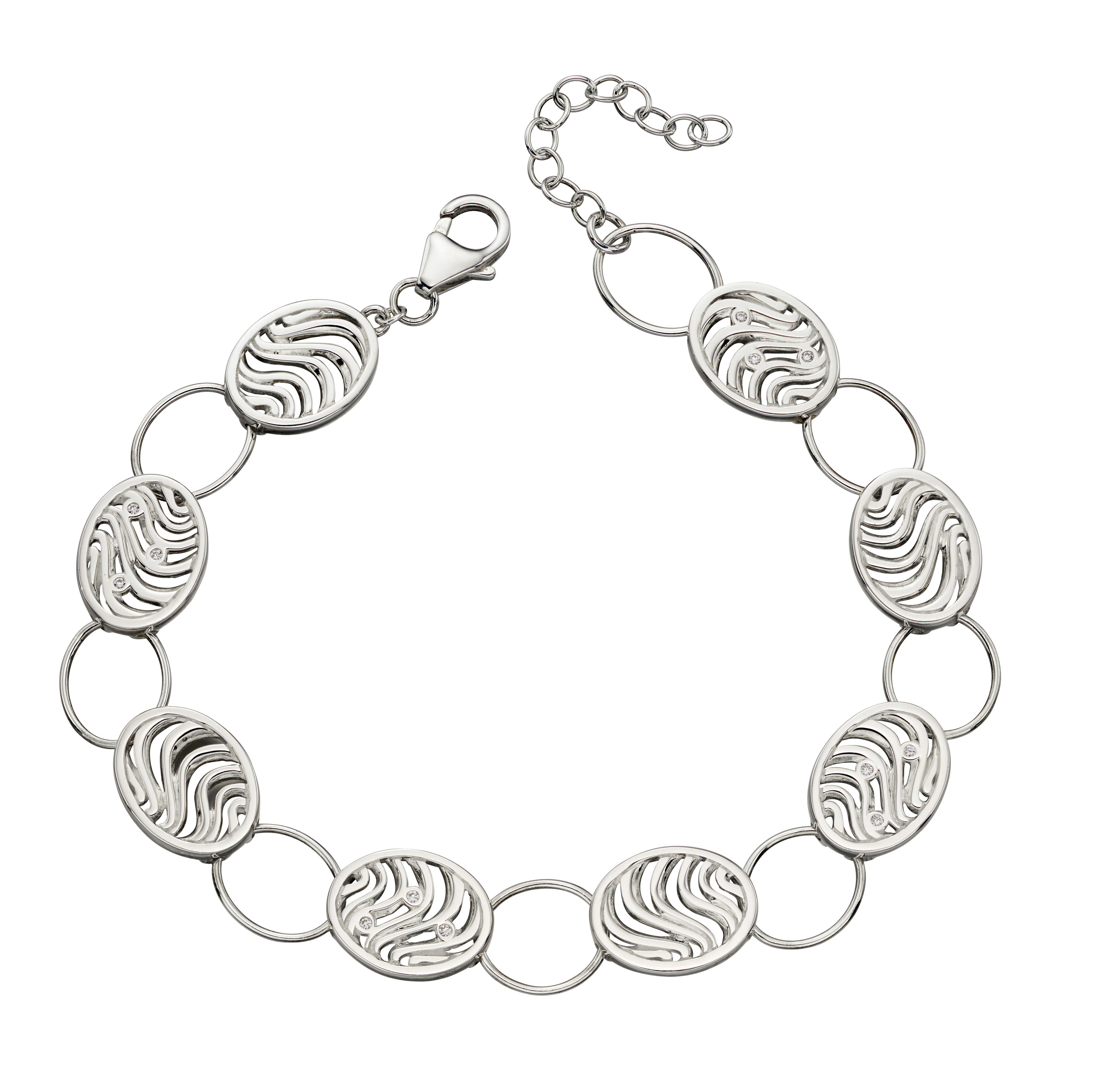 Elements Silver Womens 925 Sterling Silver Cubic Zirconia Oval Link Bracelet of Length 21.5cm B5018C
