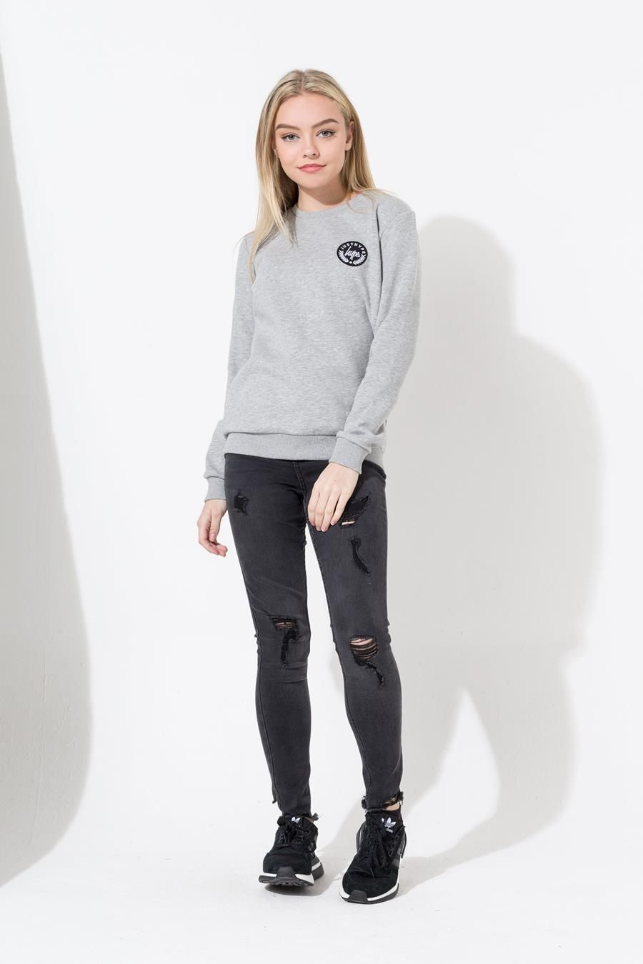 Hype Grey Crest Kids Crewneck