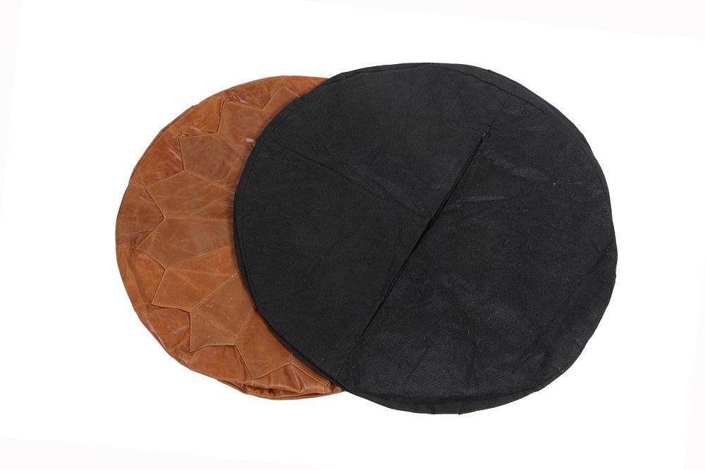 "Woodland Leather Tan Morrocon Style Pouffe 17.5"" Diam"