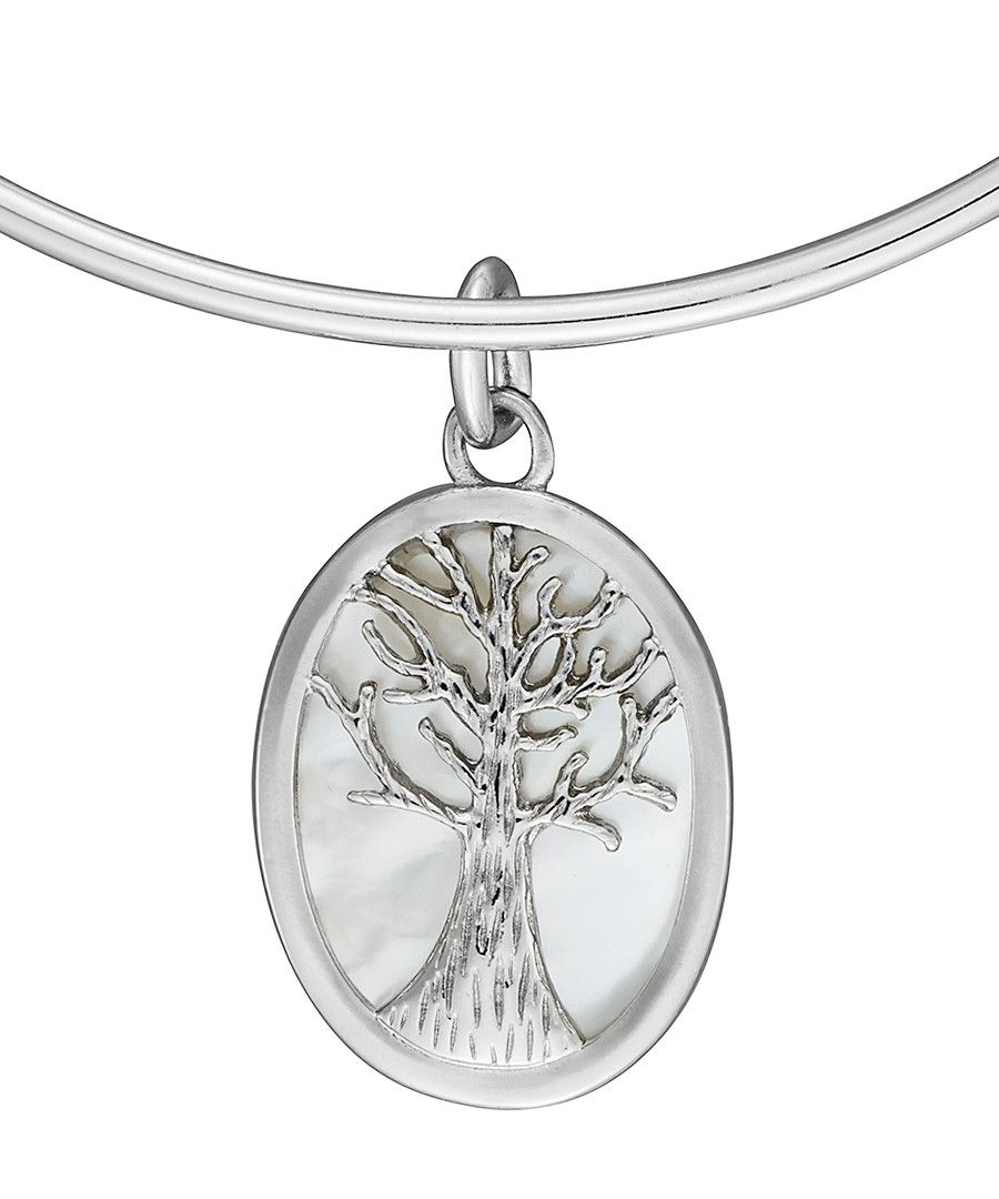 Anne Jolie  Tree of Wisdom on Mother of Pearl Charm Expandable Bangle