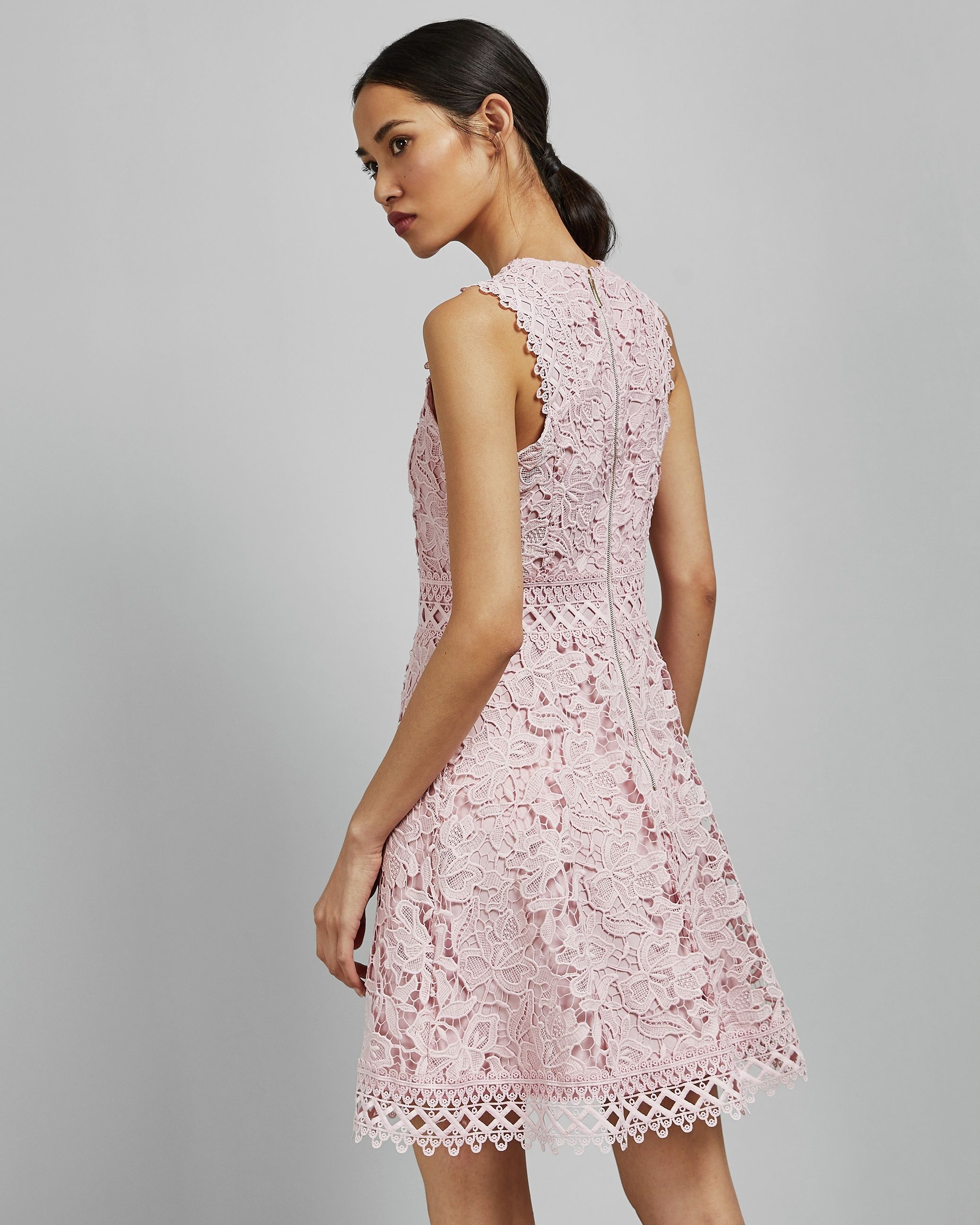 Ted Baker Beniel Lace Skater Dress, Light Pink