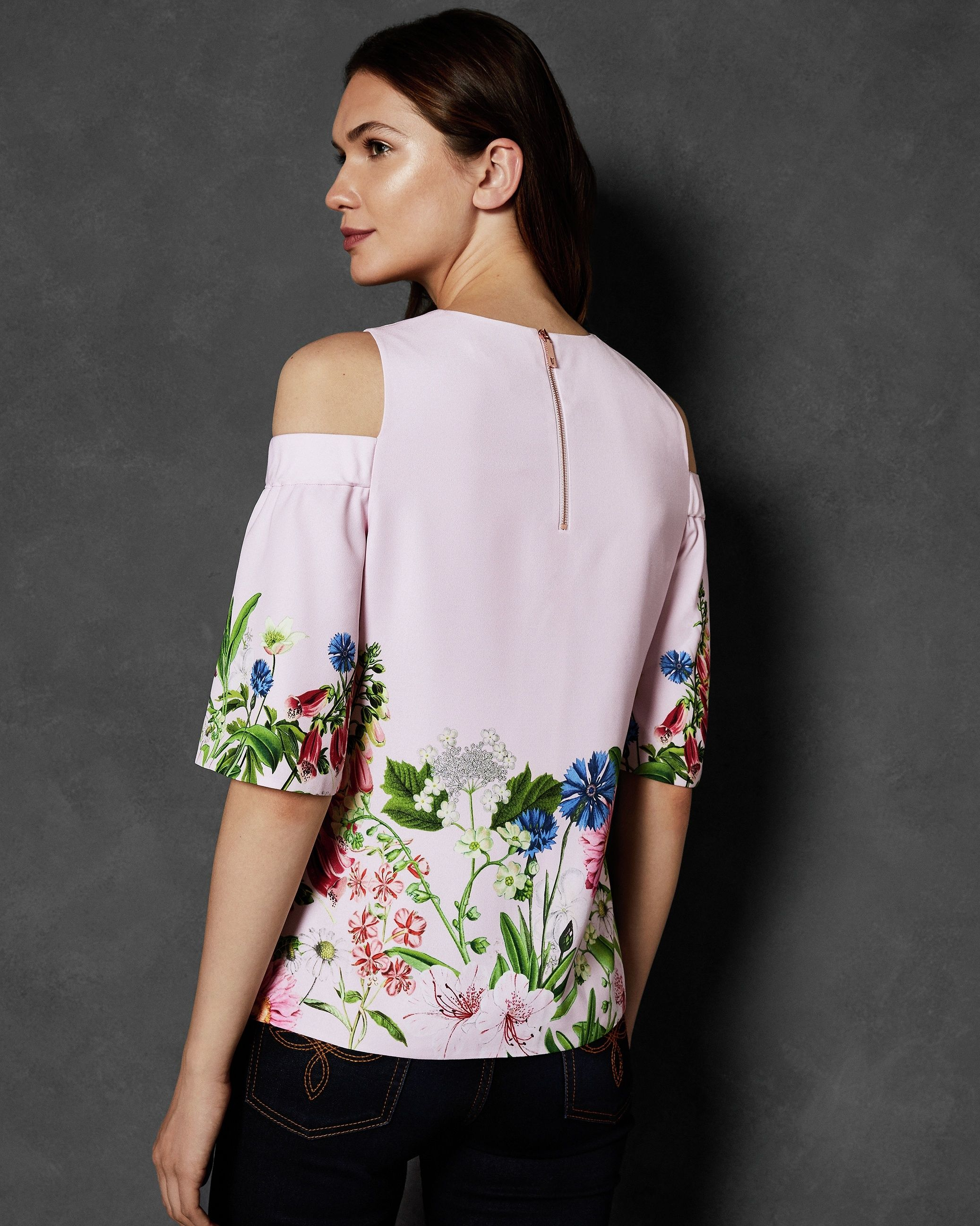 Ted Baker Beyaa Florence Cut Out Shoulder Top in Light Pink
