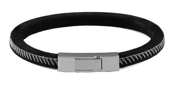 Click camo silver-plated and suede bracelet