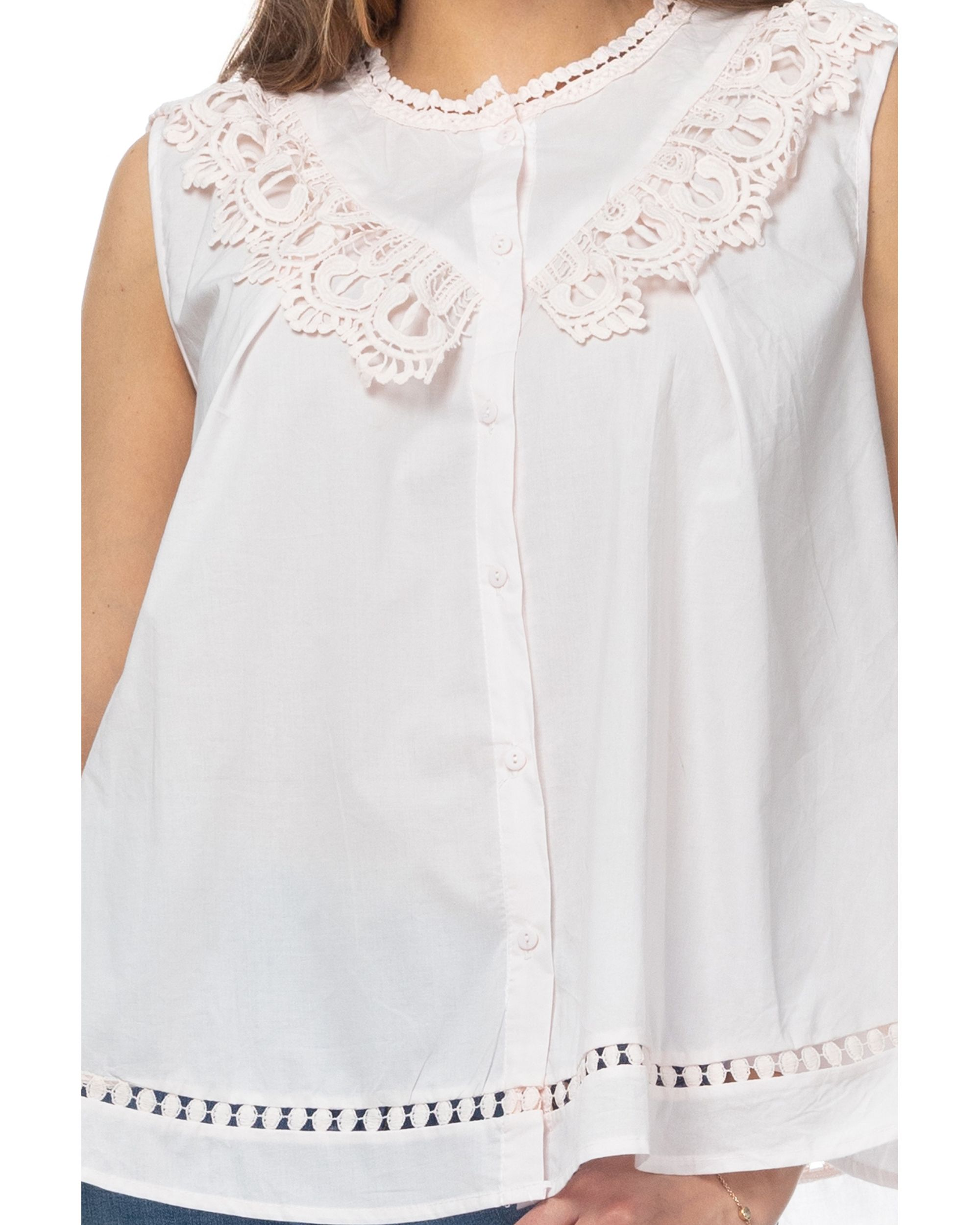 Flared Blouse With Lace And Vainica Details