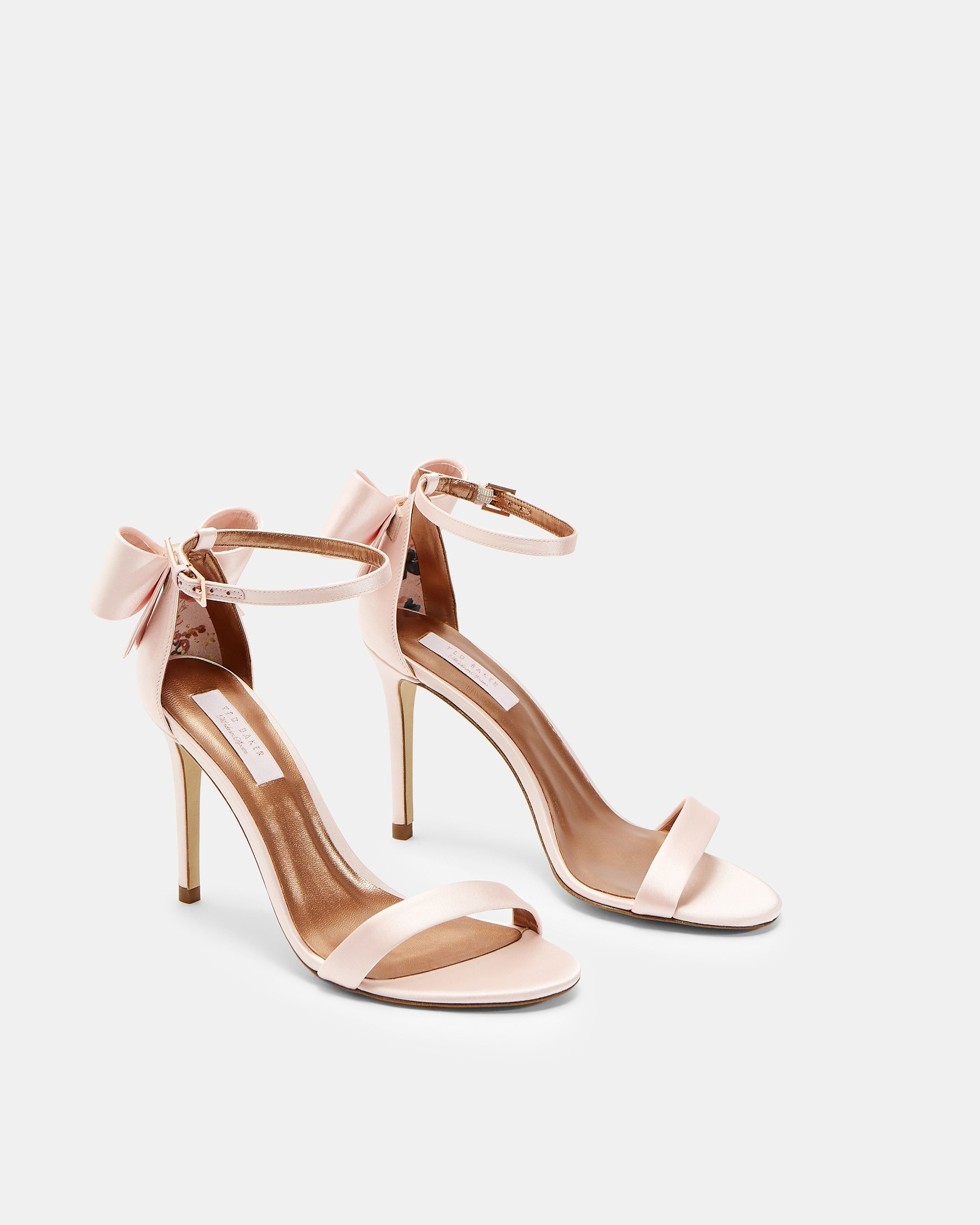 Ted Baker Bowtifl Bow Heeled Sandals in Pale Pink