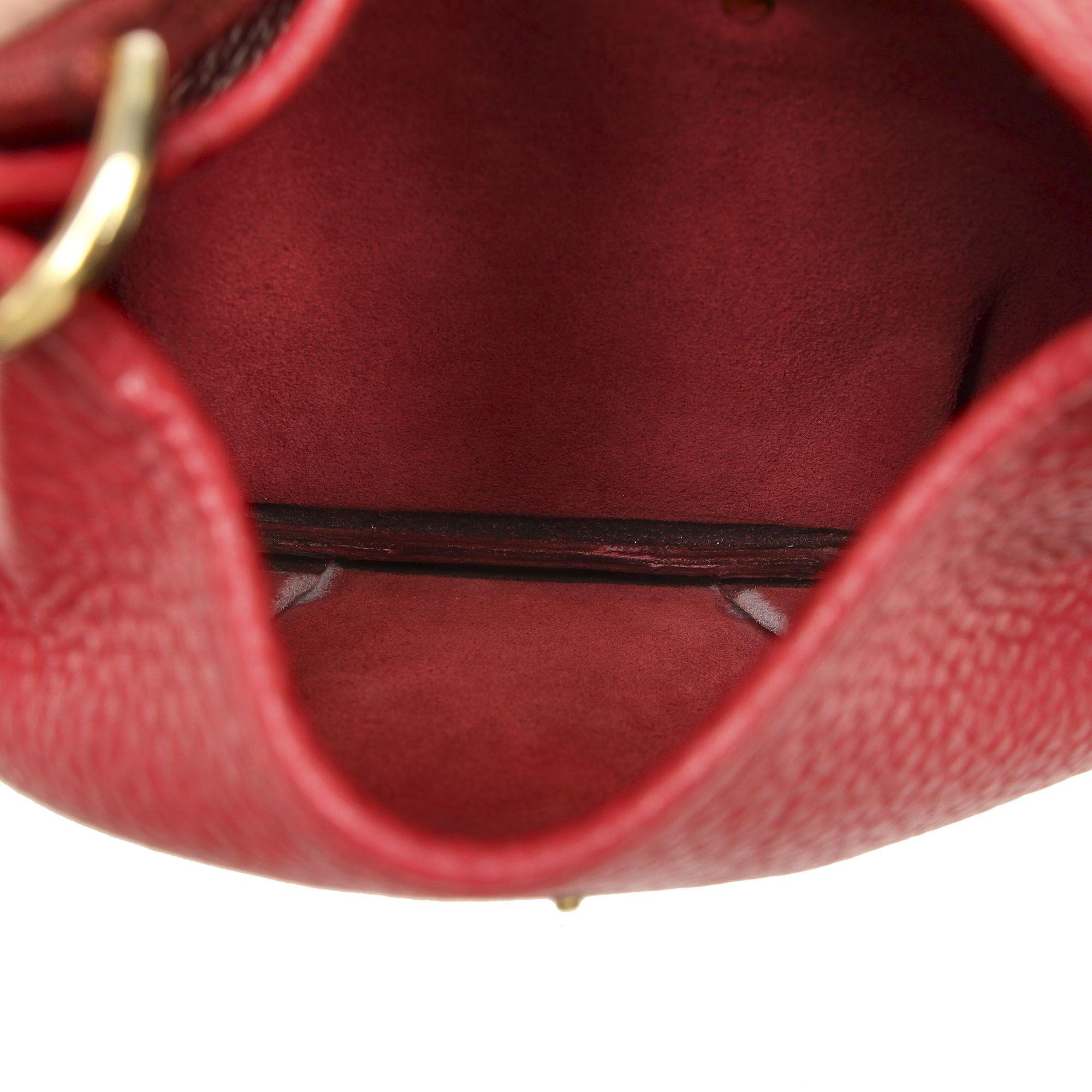 Vintage Hermes Rodeo Leather Shoulder Bag Red