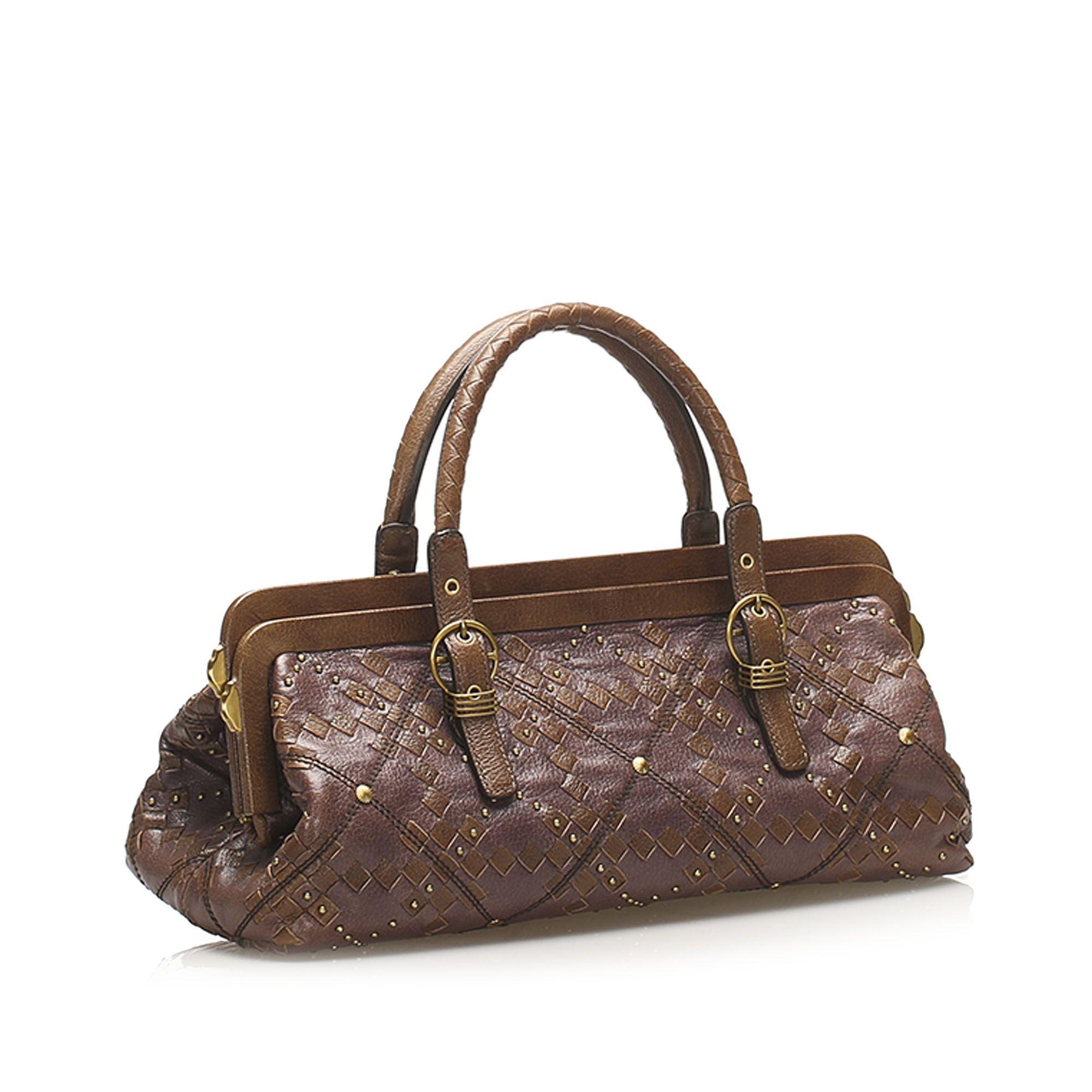 Vintage Bottega Veneta Intrecciato Leather Handbag Brown