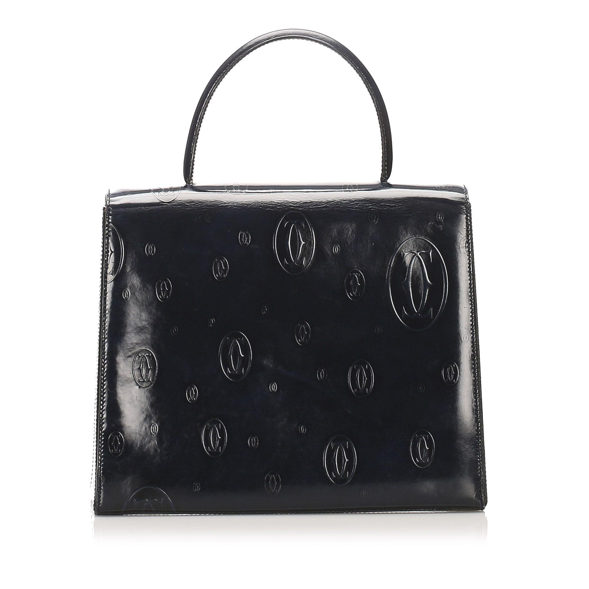 Vintage Cartier Happy Birthday Patent Leather Handbag Black