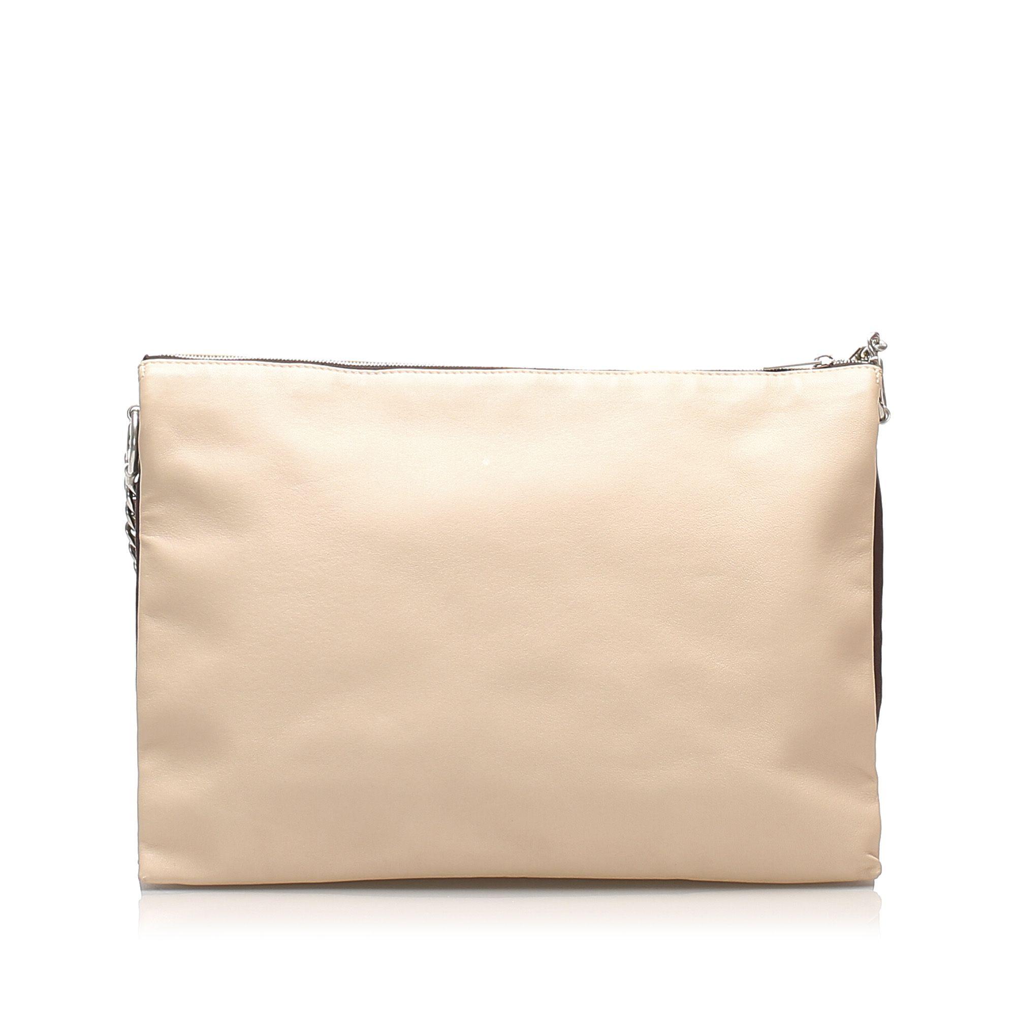Vintage Celine Trio Chain Leather Shoulder Bag Brown