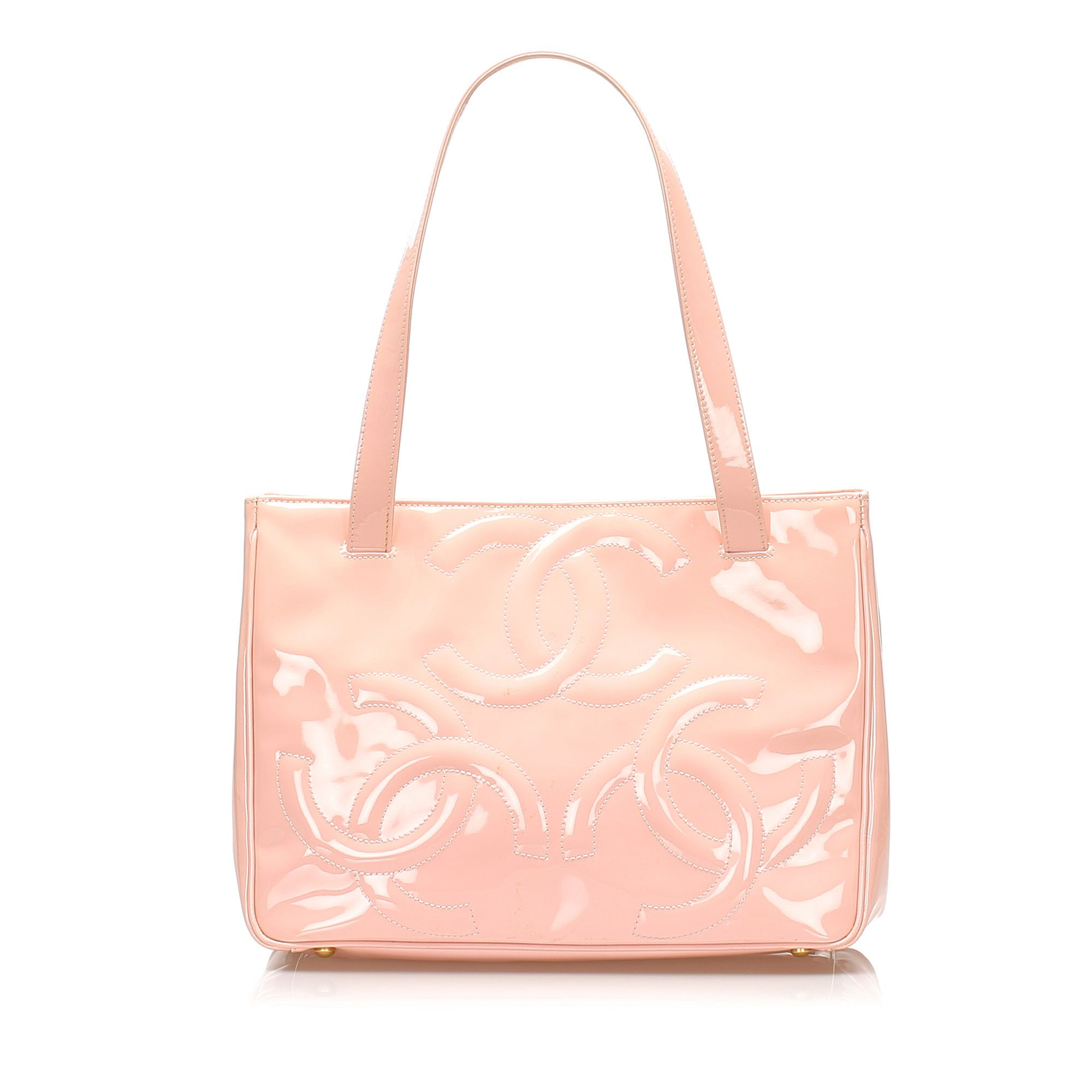 Vintage Chanel Triple Coco Patent Leather Tote Bag Pink