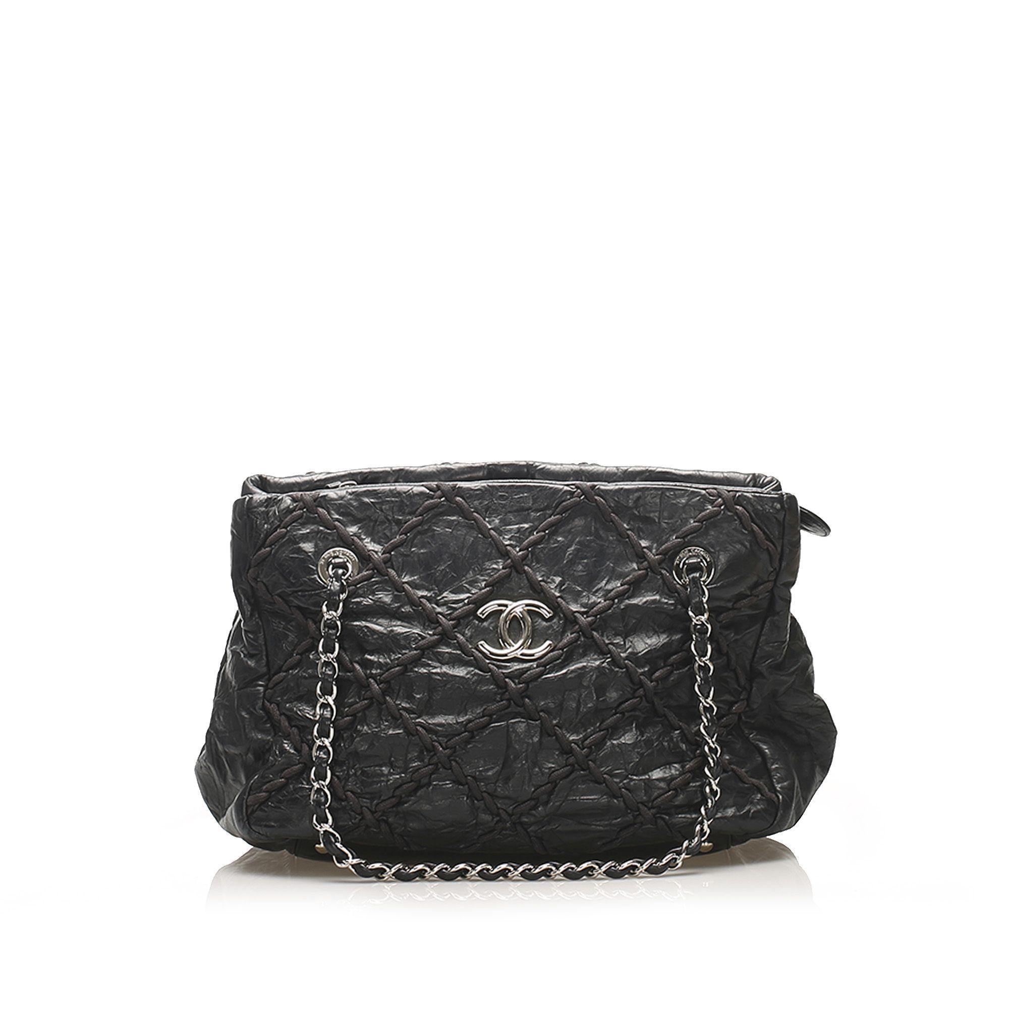 Vintage Chanel CC Wild Stitch Leather Tote Bag Black