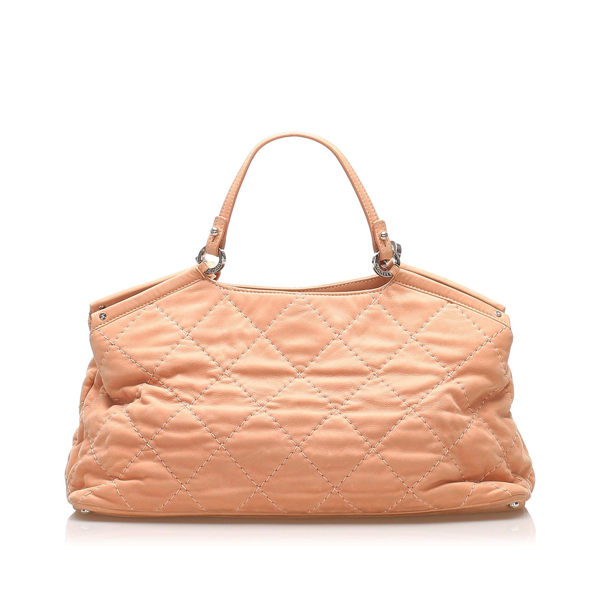 Vintage Chanel Wild Stitch CC Lambskin Leather Satchel Pink