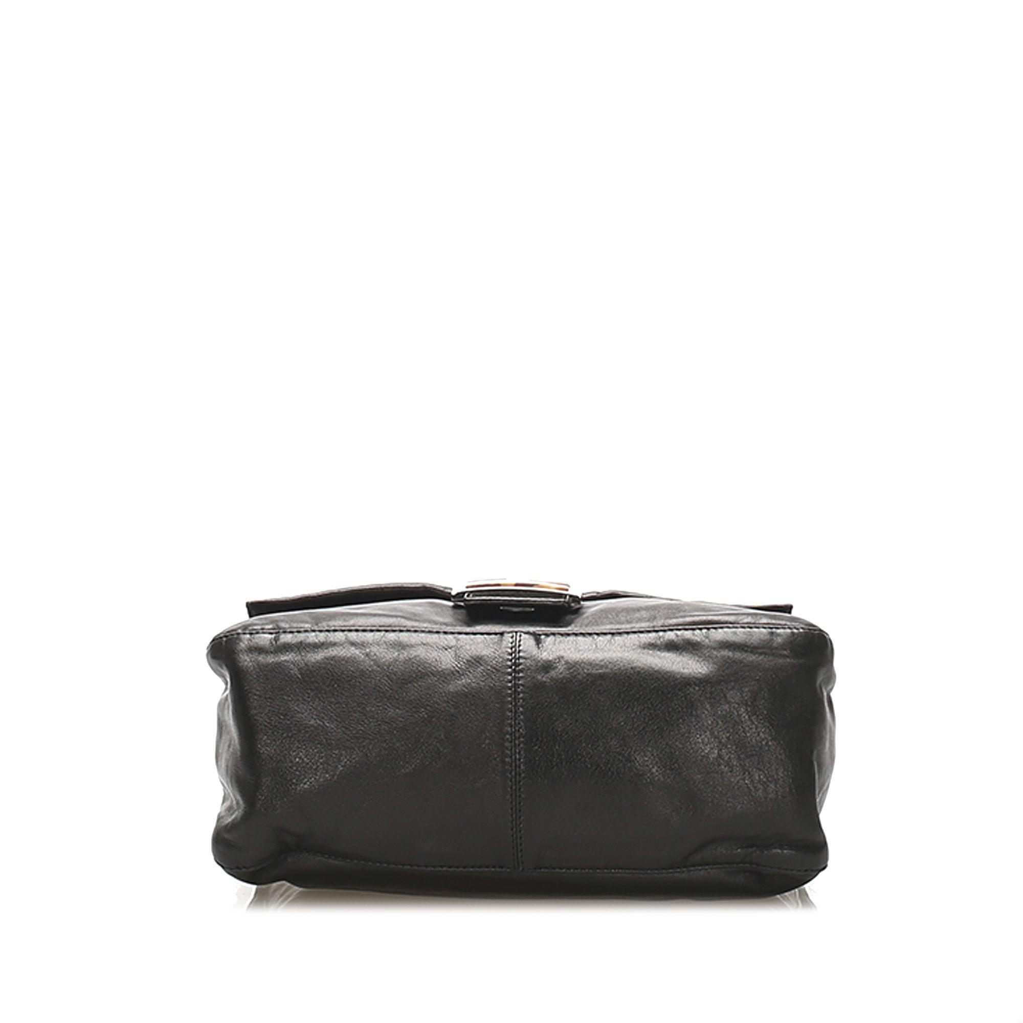 Vintage Fendi Mamma Forever Leather Baguette Bag Black