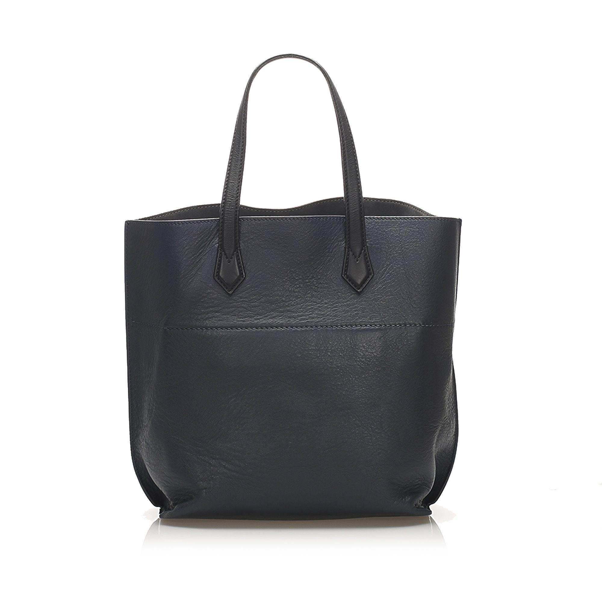 Vintage Fendi All Shopper Leather Tote Blue