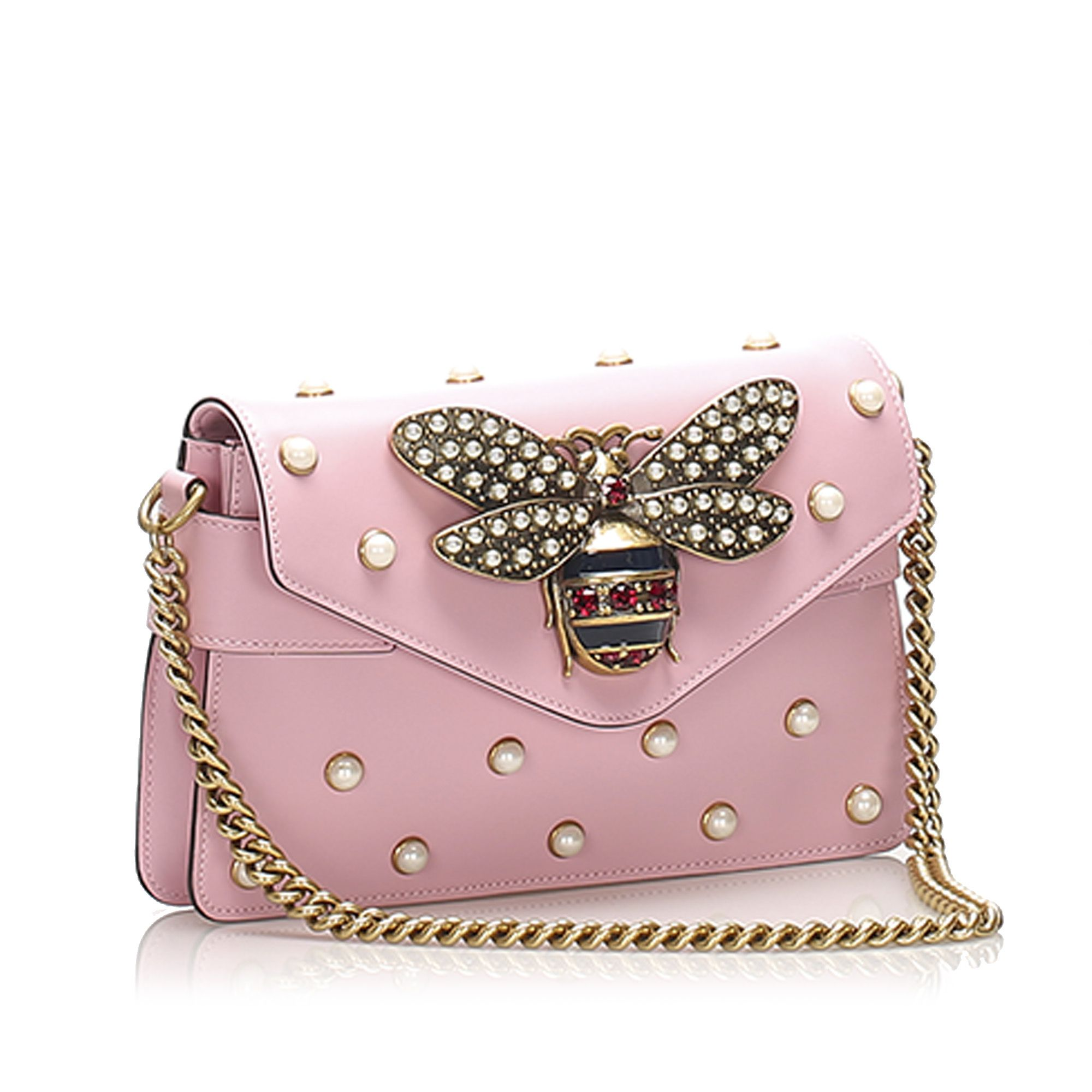 Vintage Gucci Broadway Pearly Bee Leather Crossbody Bag Pink