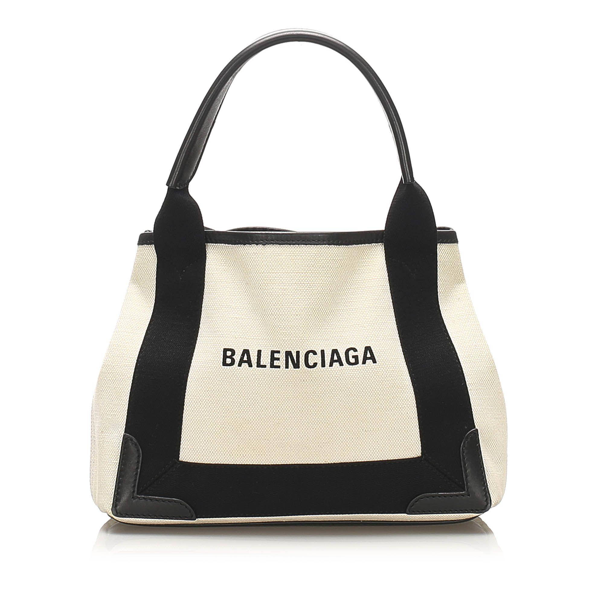 Vintage Balenciaga Navy Cabas XS Canvas Bag White