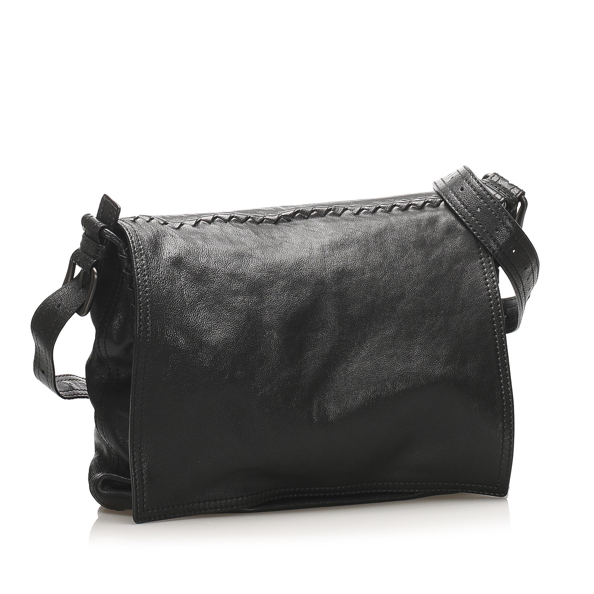 Vintage Bottega Veneta Intrecciato Leather Crossbody Bag Black