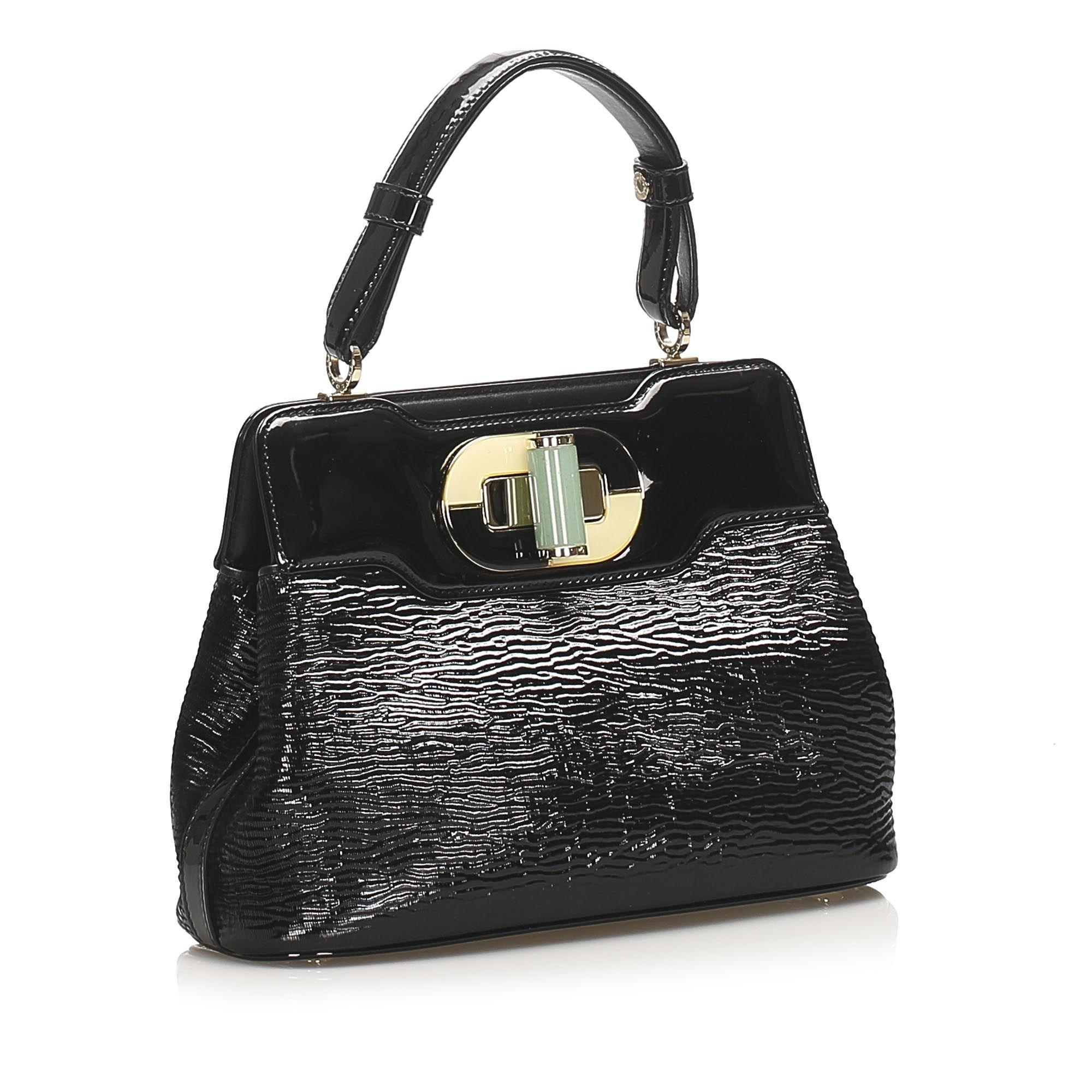 Vintage Bvlgari Isabella Rossellini Patent Leather Handbag Black
