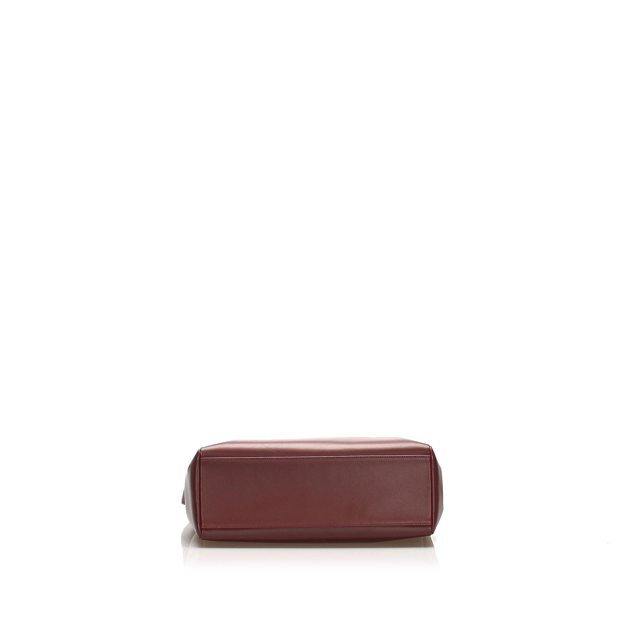 Vintage Cartier Must de Cartier Leather Shoulder Bag Red