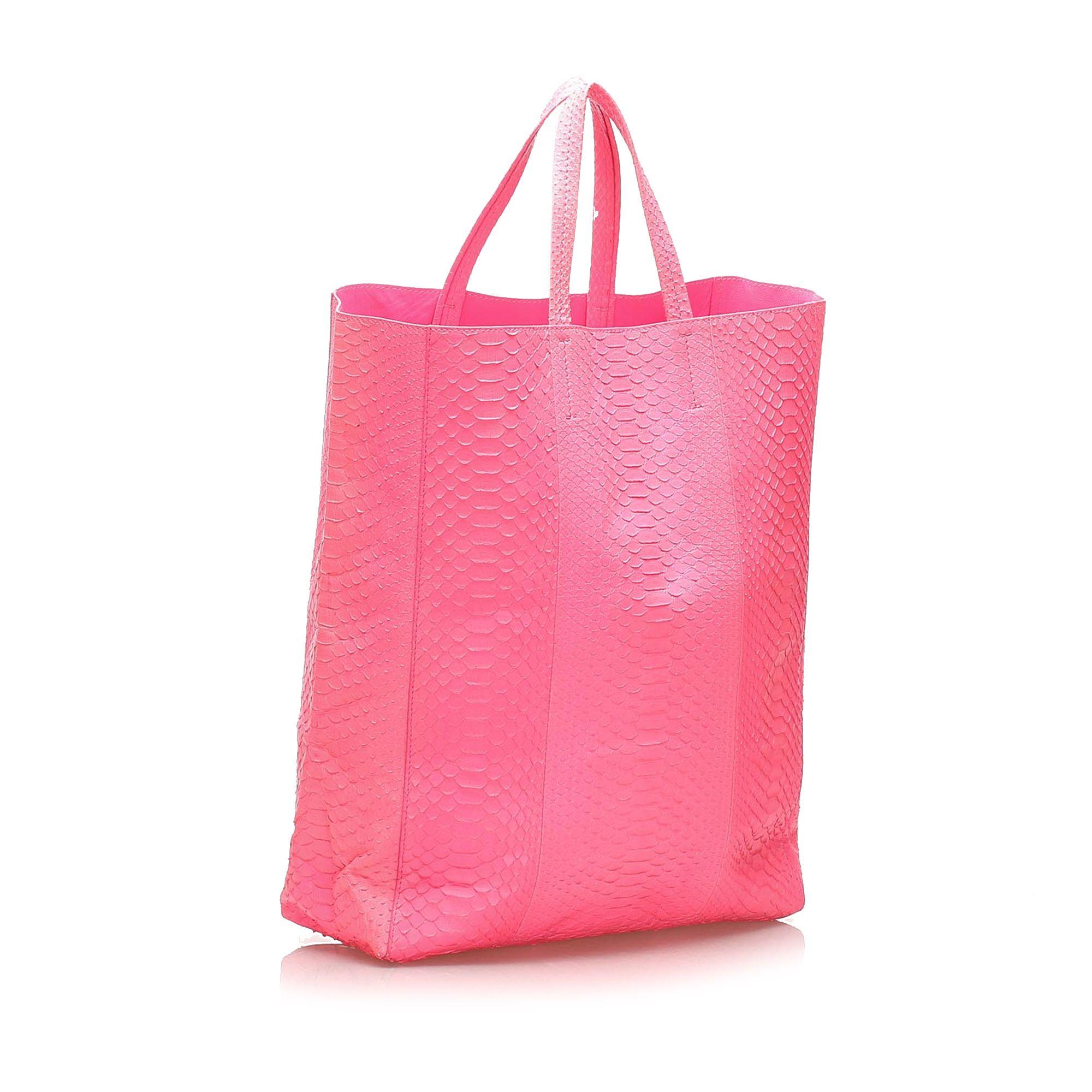 Vintage Celine Vertical Cabas Python Tote Bag Pink