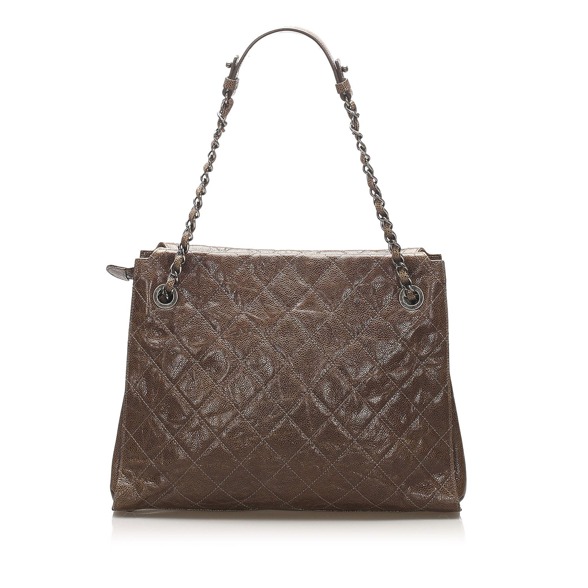 Vintage Chanel CC Timeless Shoulder Bag Brown