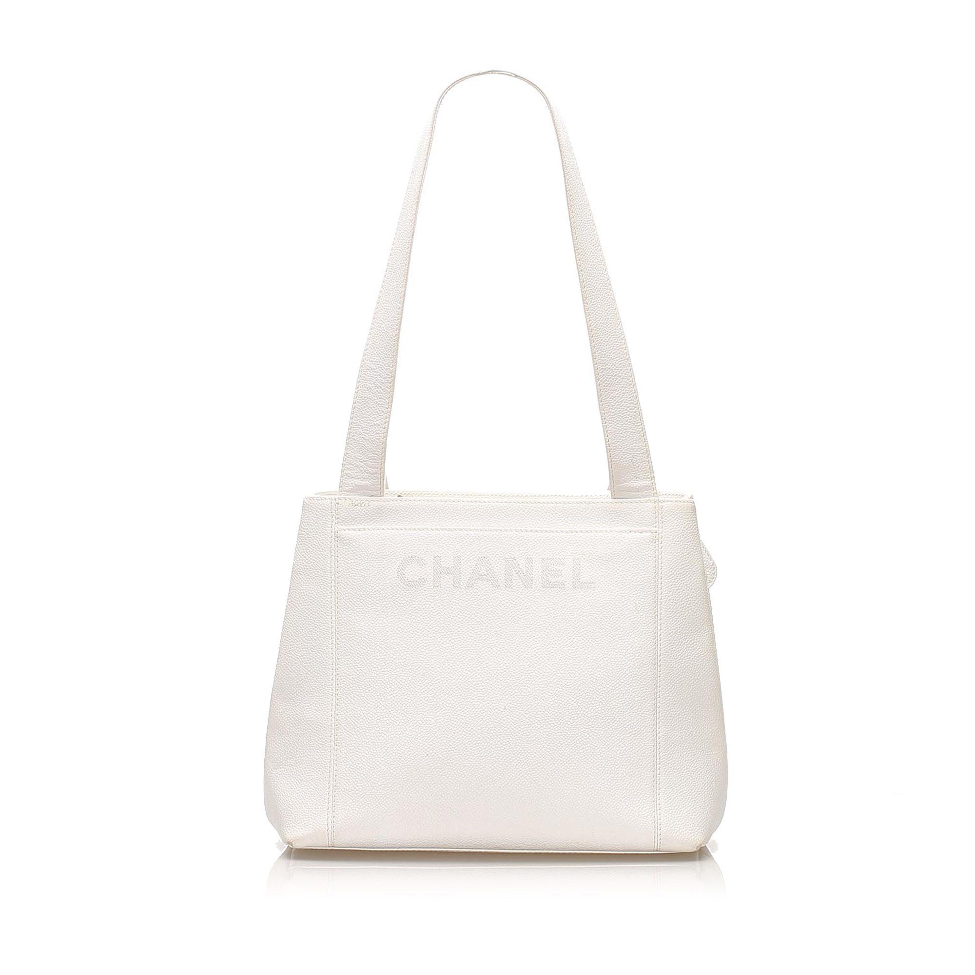 Vintage Chanel Caviar Leather Shoulder Bag White