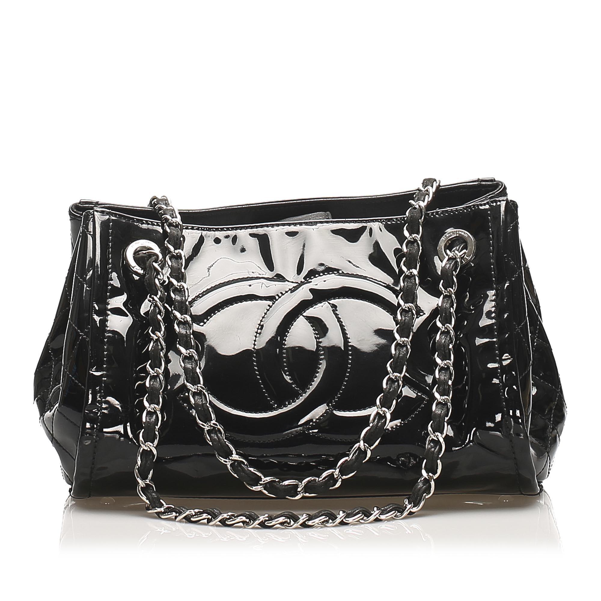 Vintage Chanel CC Patent Leather Tote Bag Black