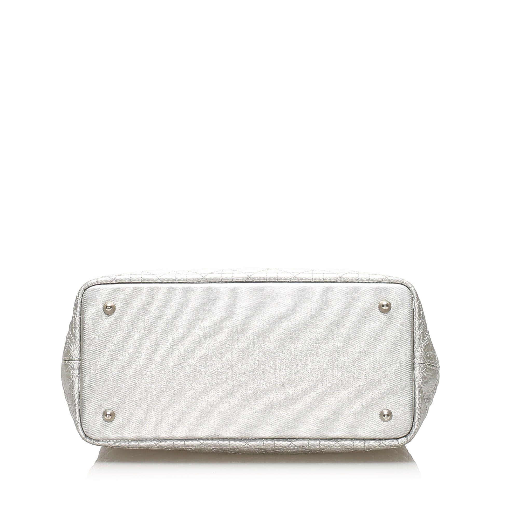 Vintage Dior Cannage Panarea Coated Canvas Tote Bag Silver