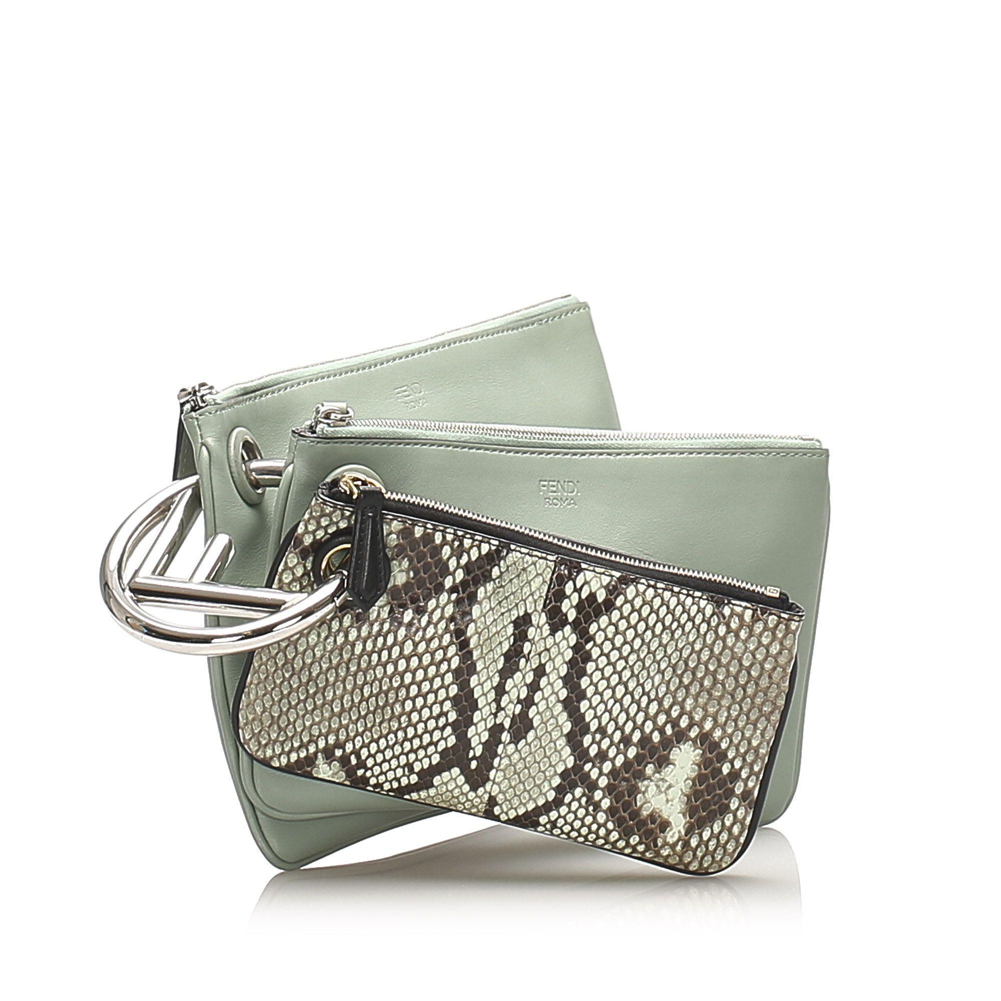 Vintage Fendi Triplette Leather Clutch Bag Green