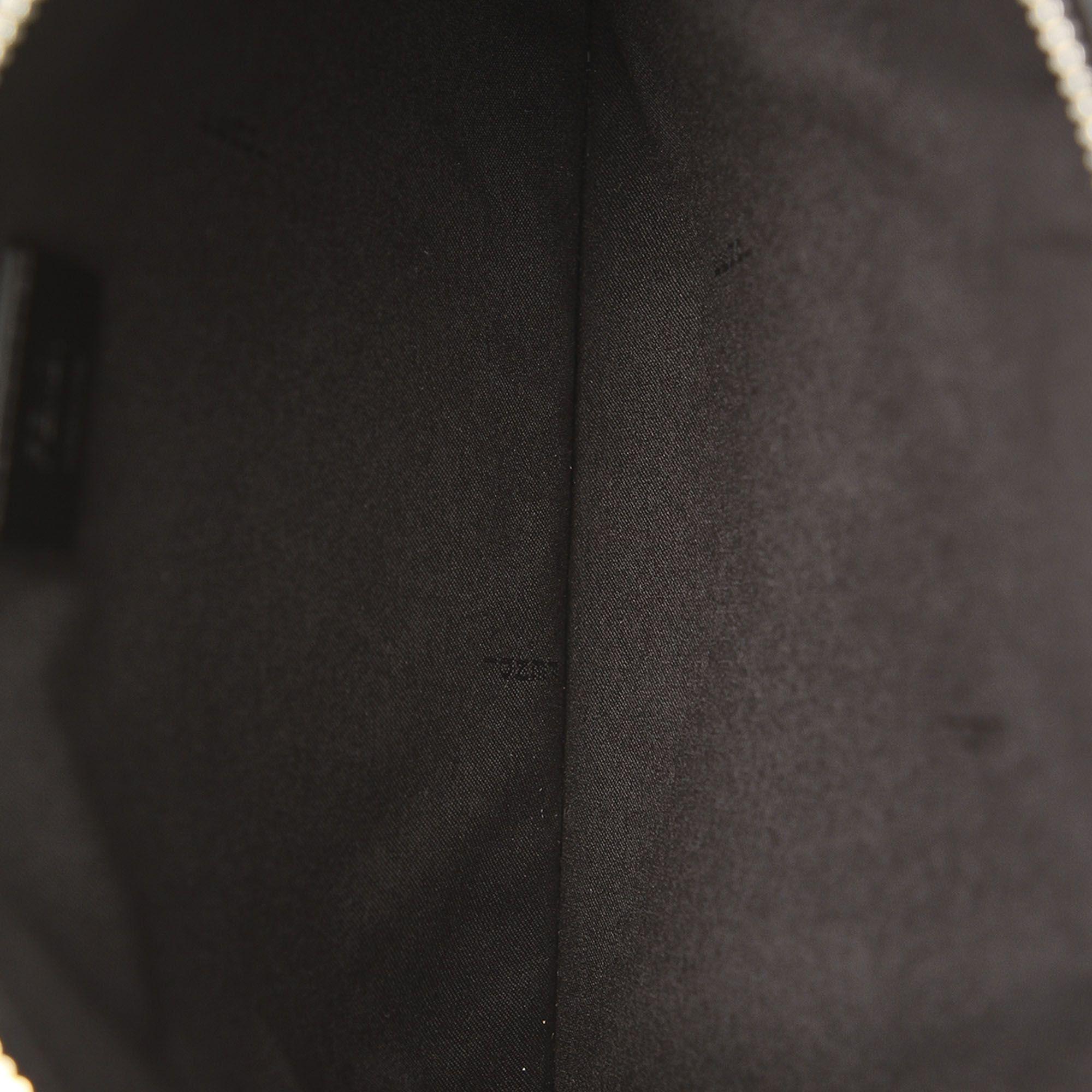 Vintage Fendi Face No Word Leather Clutch Bag Black