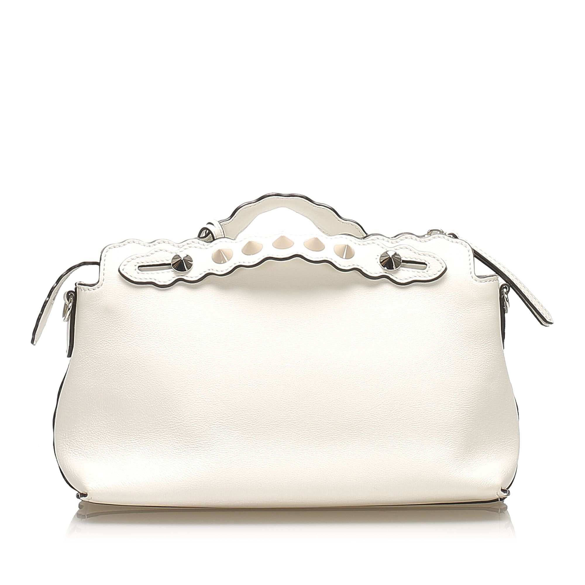 Vintage Fendi By The Way Leather Satchel White