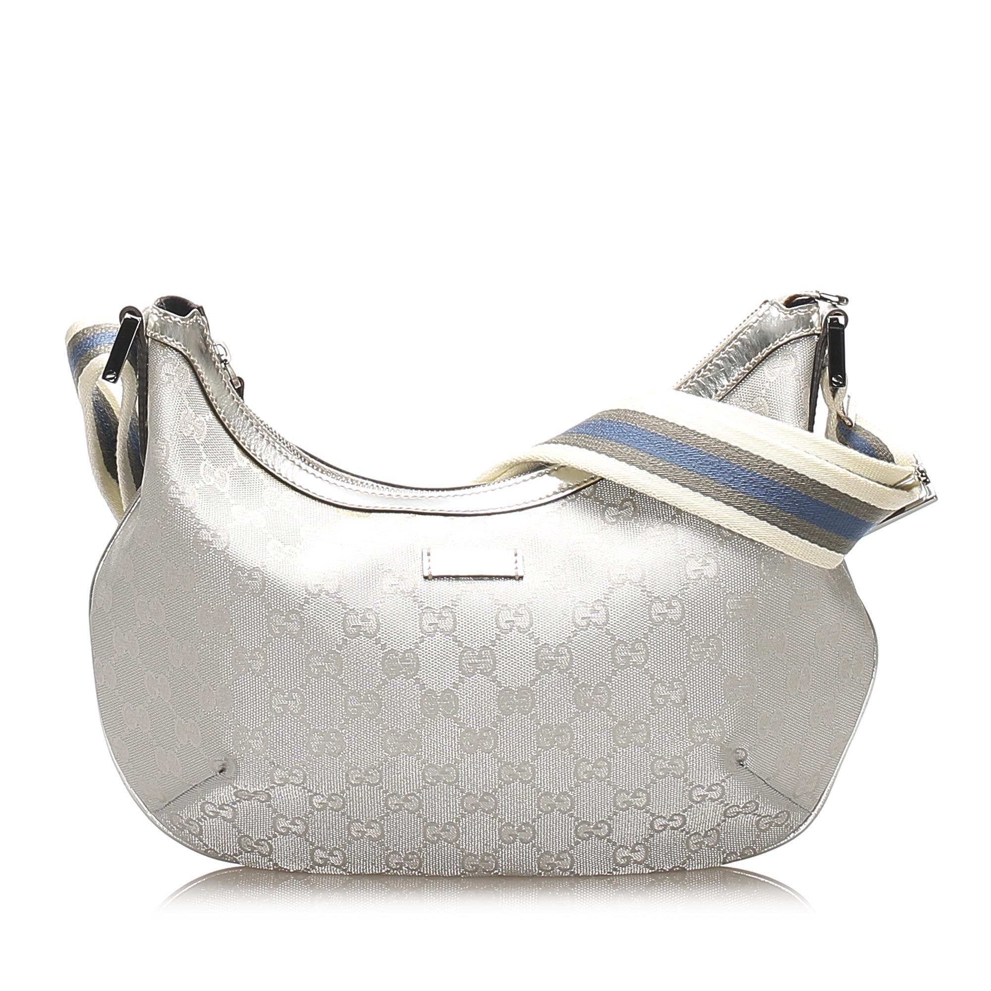 Vintage Gucci GG Imprime Web Shoulder Bag Silver