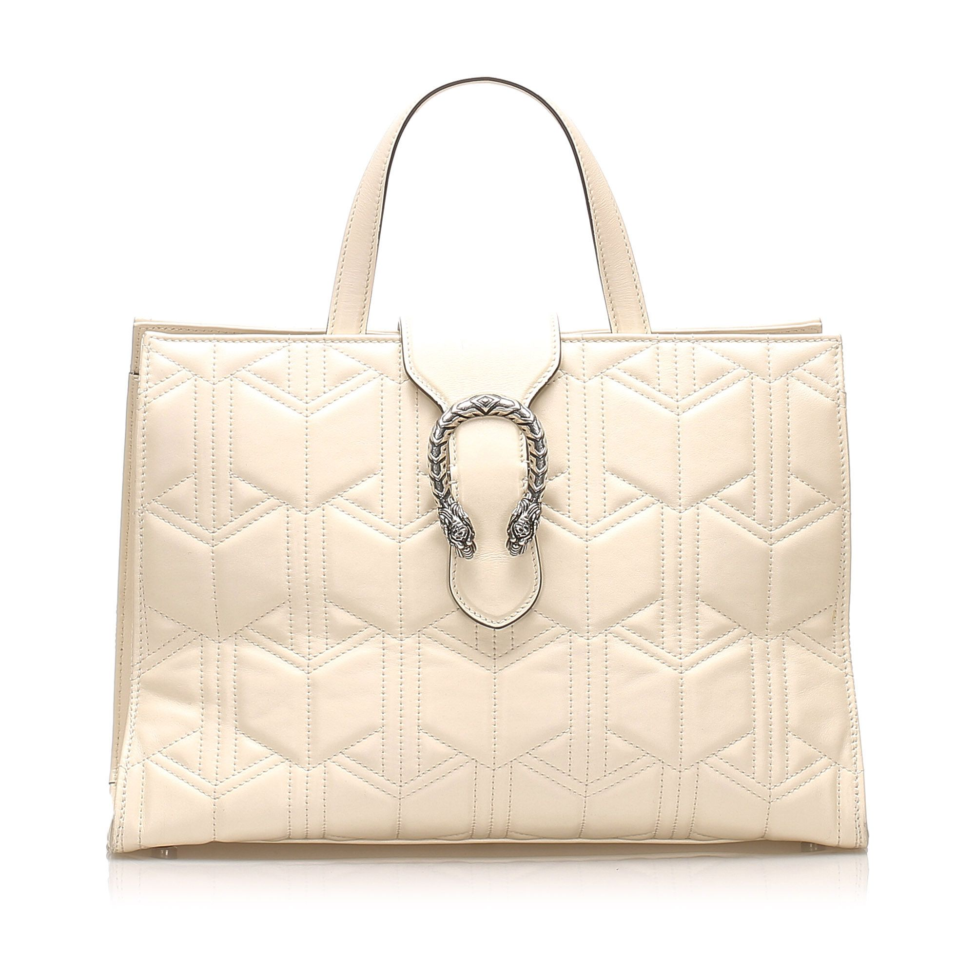 Vintage Gucci Matelasse Dionysus Leather Satchel White