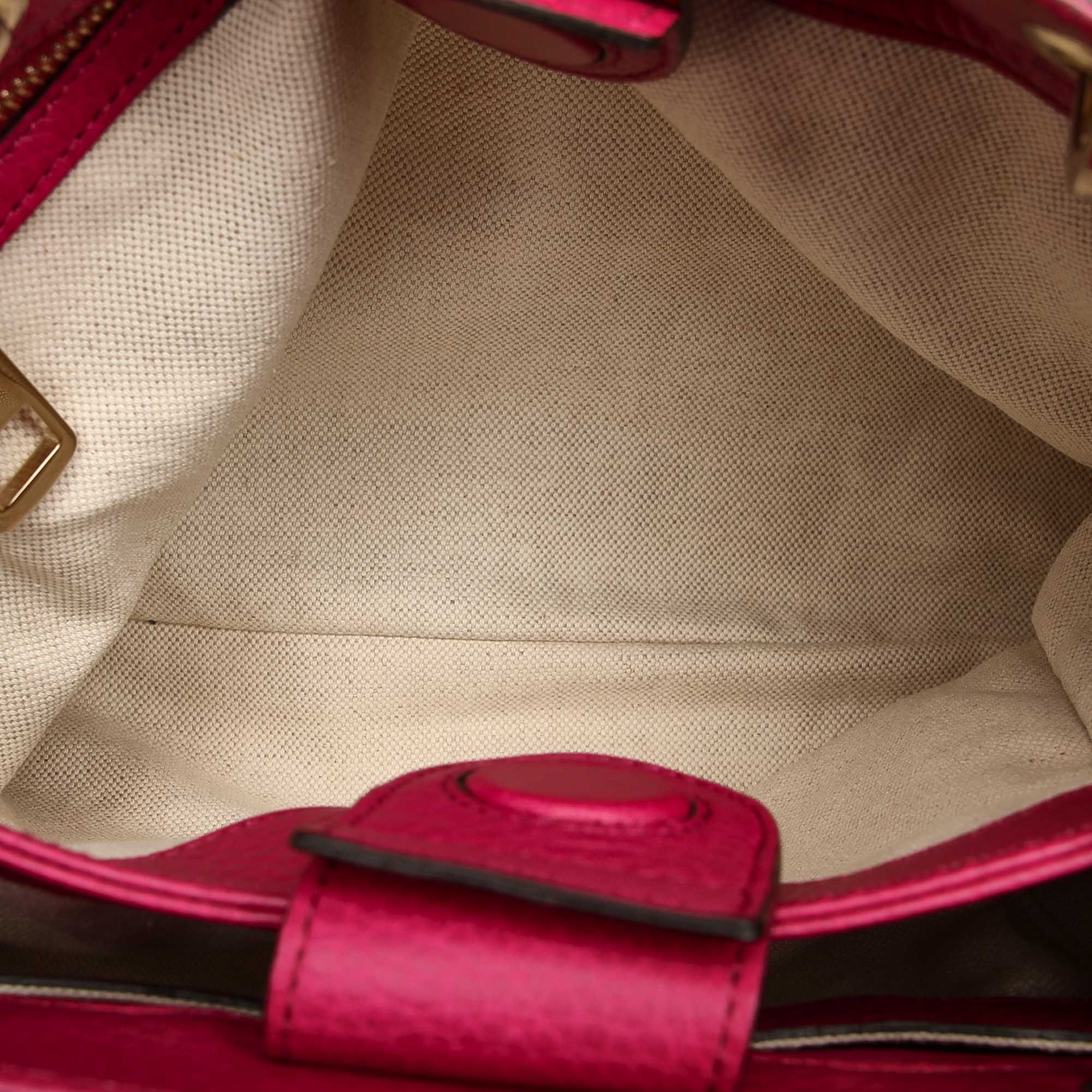 Vintage Gucci Bamboo Shopper Leather Satchel Pink