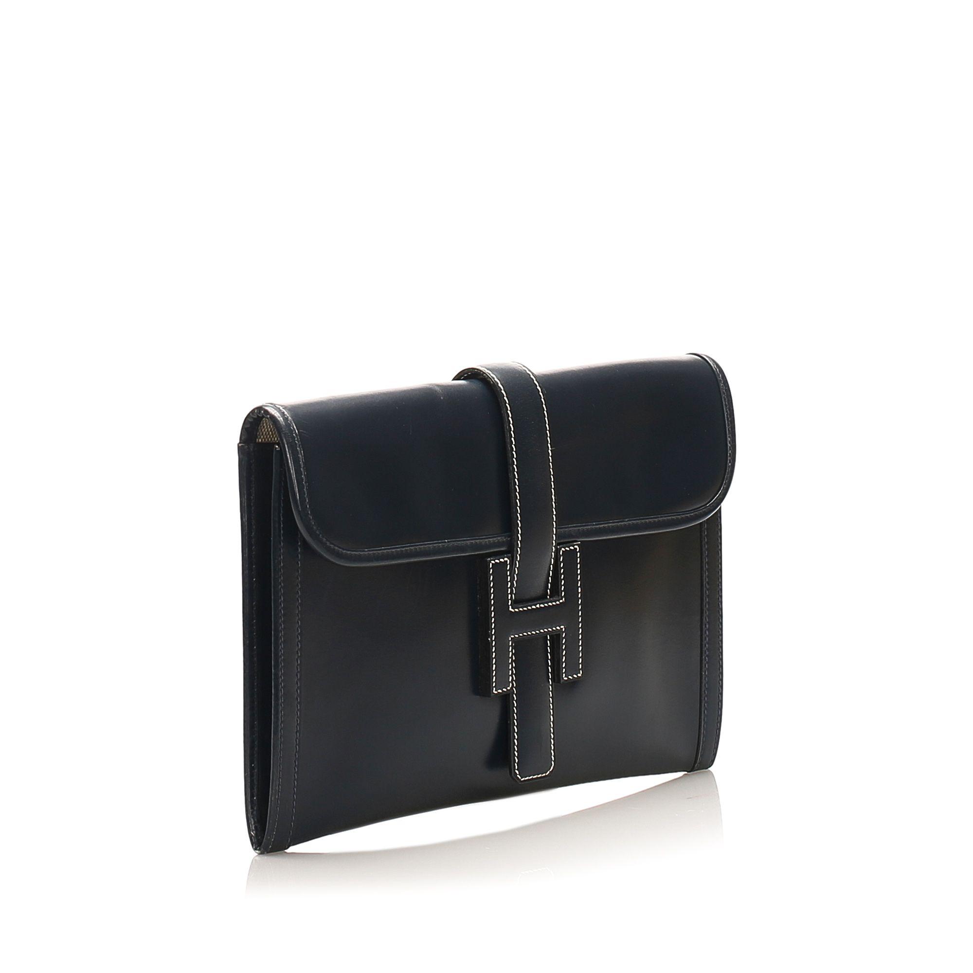 Vintage Hermes Jige PM Leather Clutch Bag Black