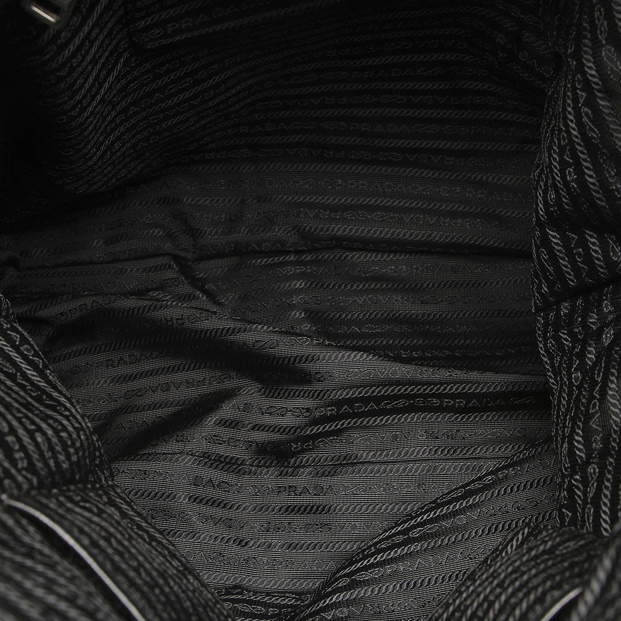 Vintage Prada Impuntu Tessuto Satchel Black
