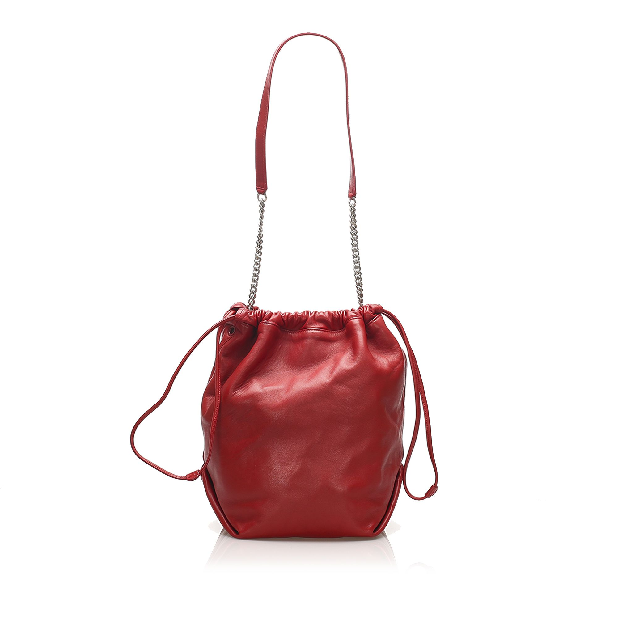 Vintage YSL Teddy Leather Bucket Bag Red