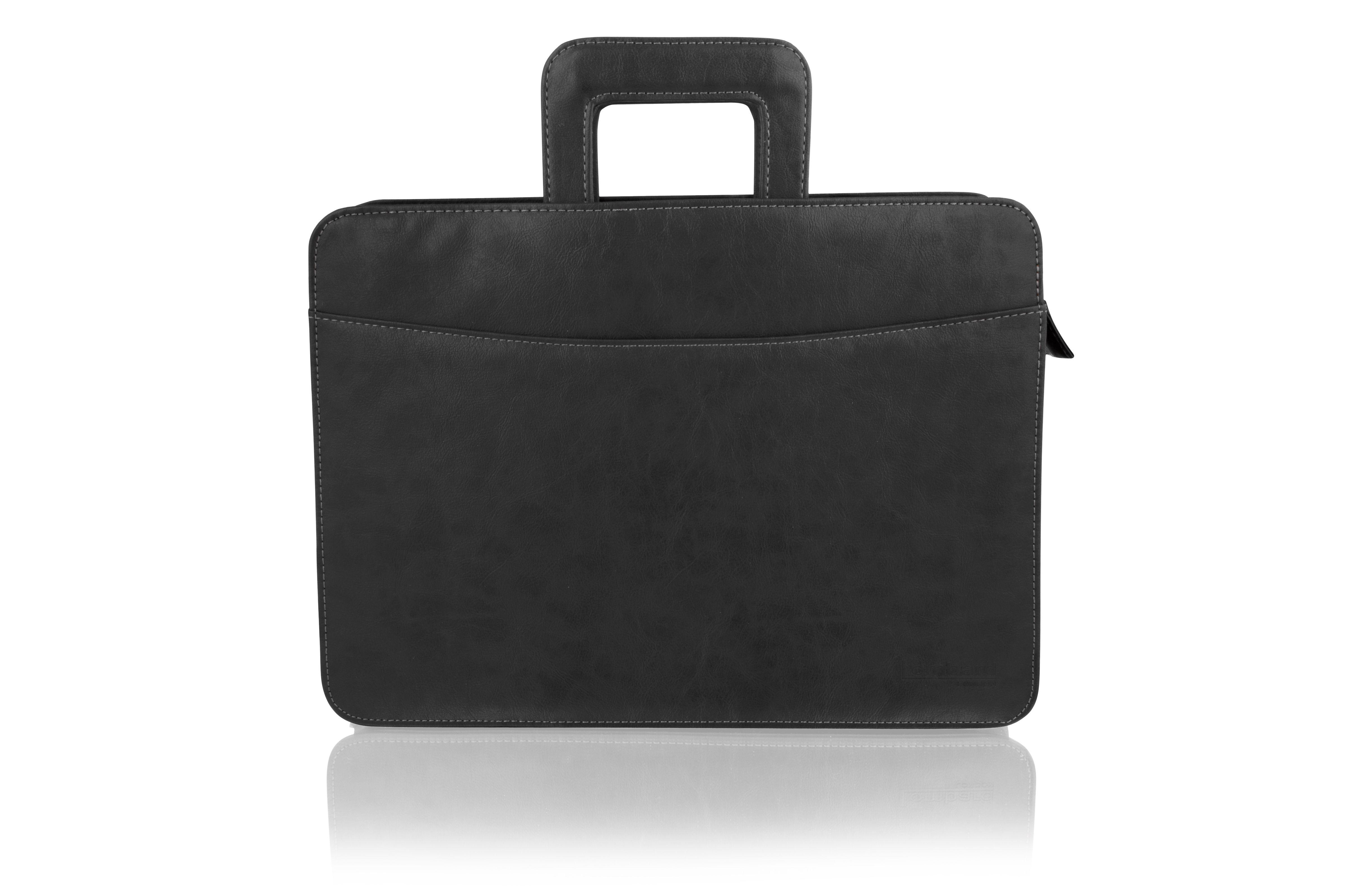 "Woodland Leather Black Retractable Handle Satchel Briefcase Folio 16"" Single Central Compartment"