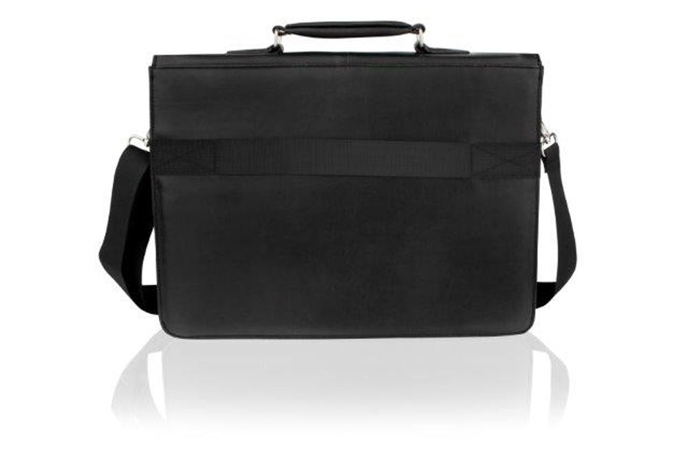 "Woodland Leather Plain Black Folio 13.5"" Top Handle Adjustable Removeable Shoulder Strap"