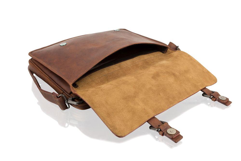 "Woodland Leather Tan Laptop Satchel Briefcase 14.5"" External Handle"
