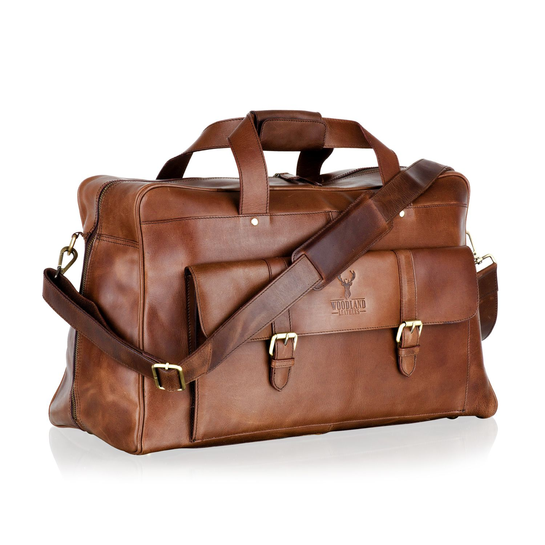 """Woodland Leather Brown Large Travel Holdall 21.0"""" Multi Pockets Central Zip Adjustable Shoulder Strap"""