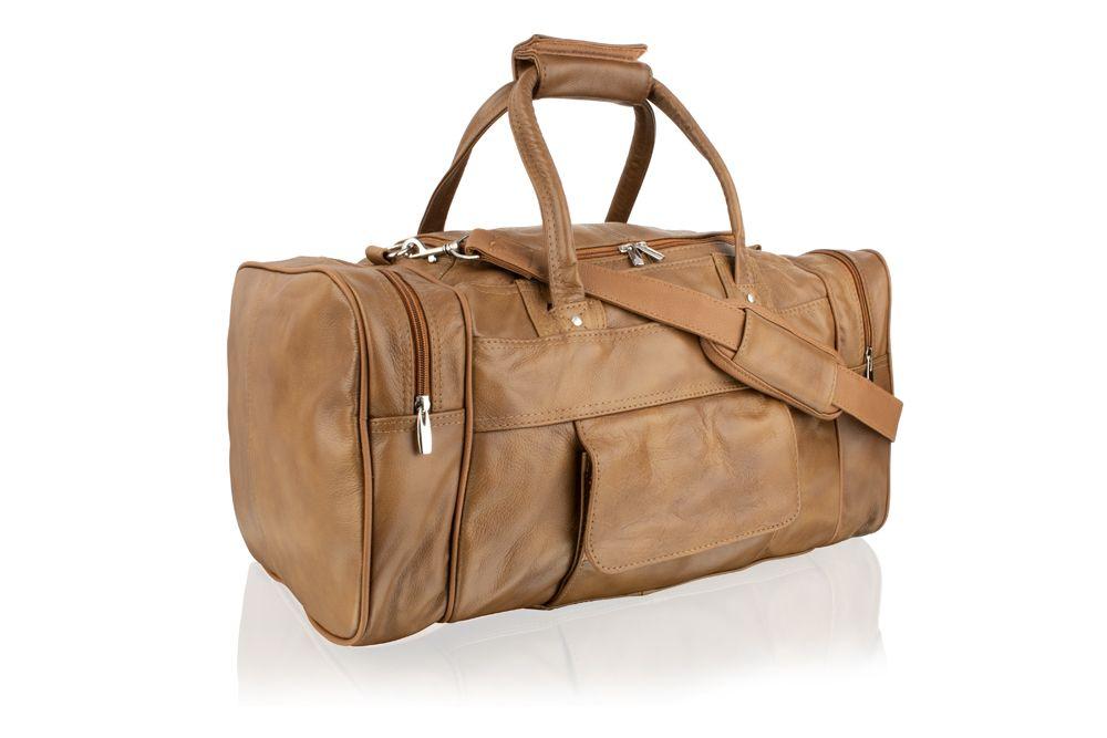 "Woodland Leather Brown Medium Size Travel Holdall 19.0"" Adjustable Removeable Shoulder Strap"