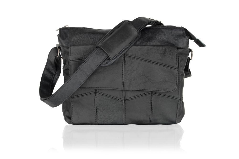 """Black Leather Portrait Messenger Bag 10.5"""" Flap Over Adjustable Shoulder Strap"""